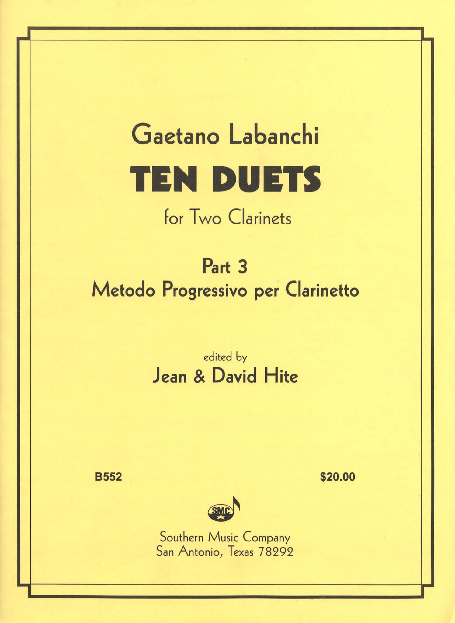 Progressive Method for Clarinet, Book 3 – 10 Duets Cover