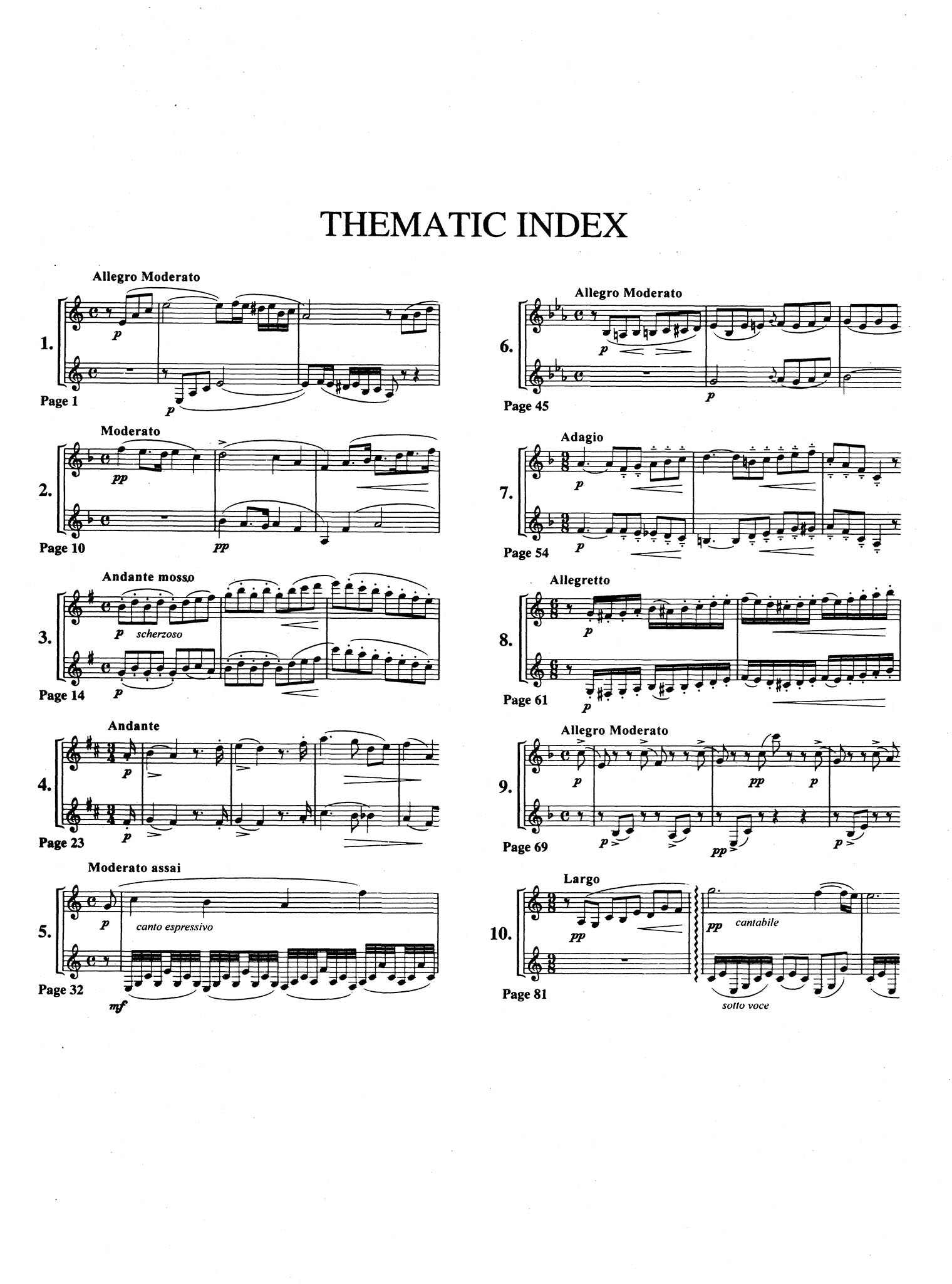 Progressive Method for Clarinet, Book 3 – 10 Duets Thematic Index
