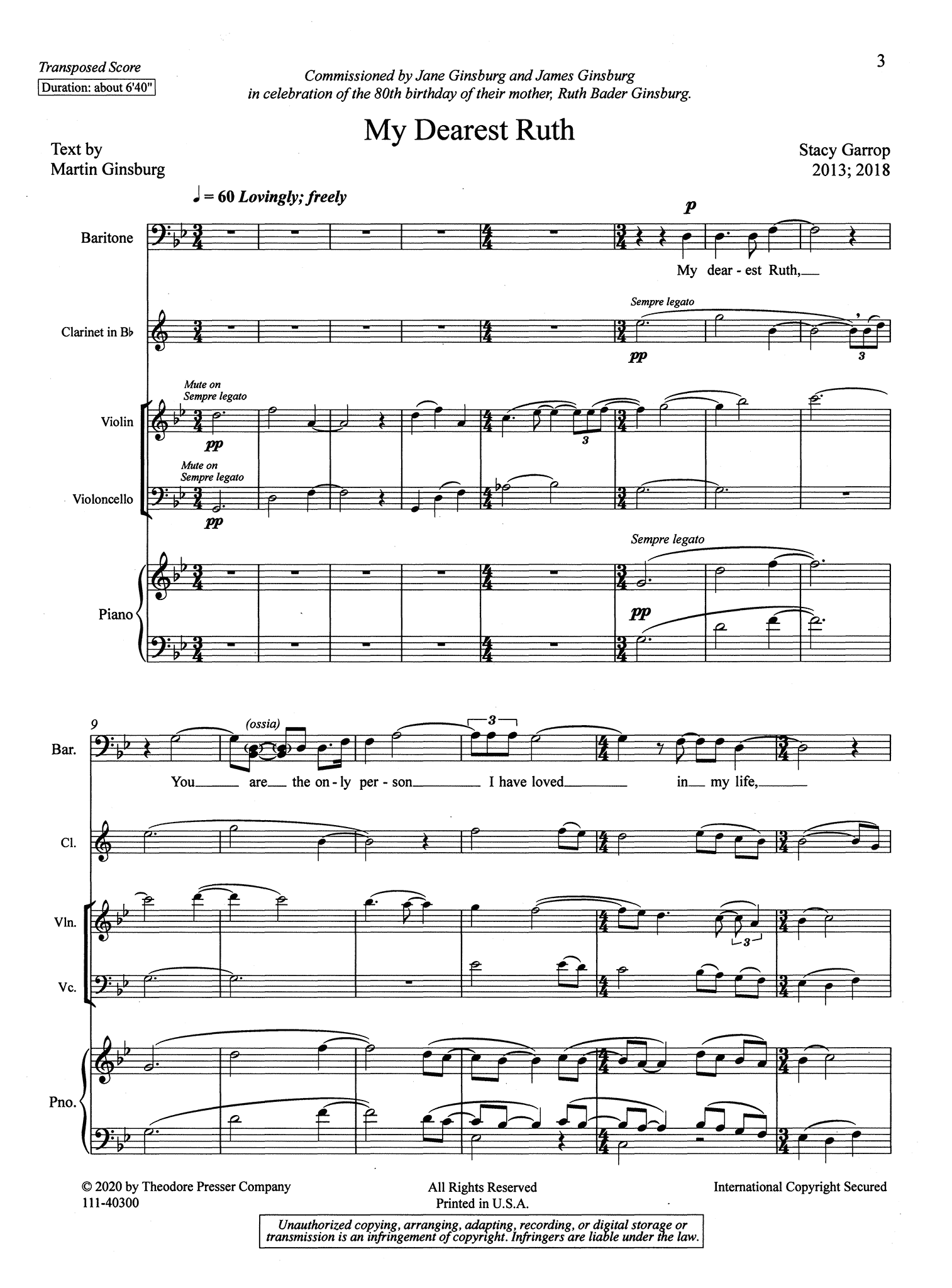 Stacy Garrop My Dearest Ruth for baritone, score page 3