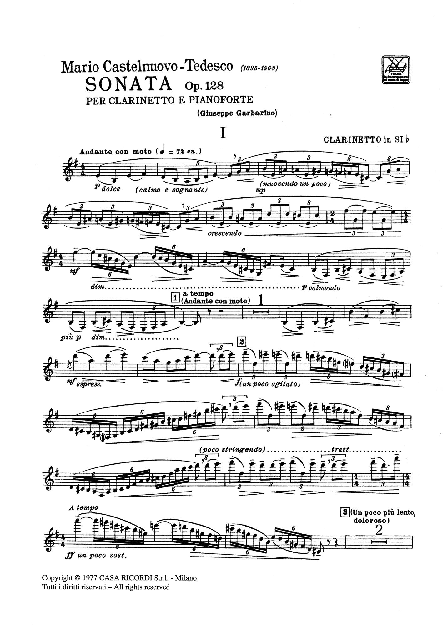 Sonata, Op. 128 Clarinet part