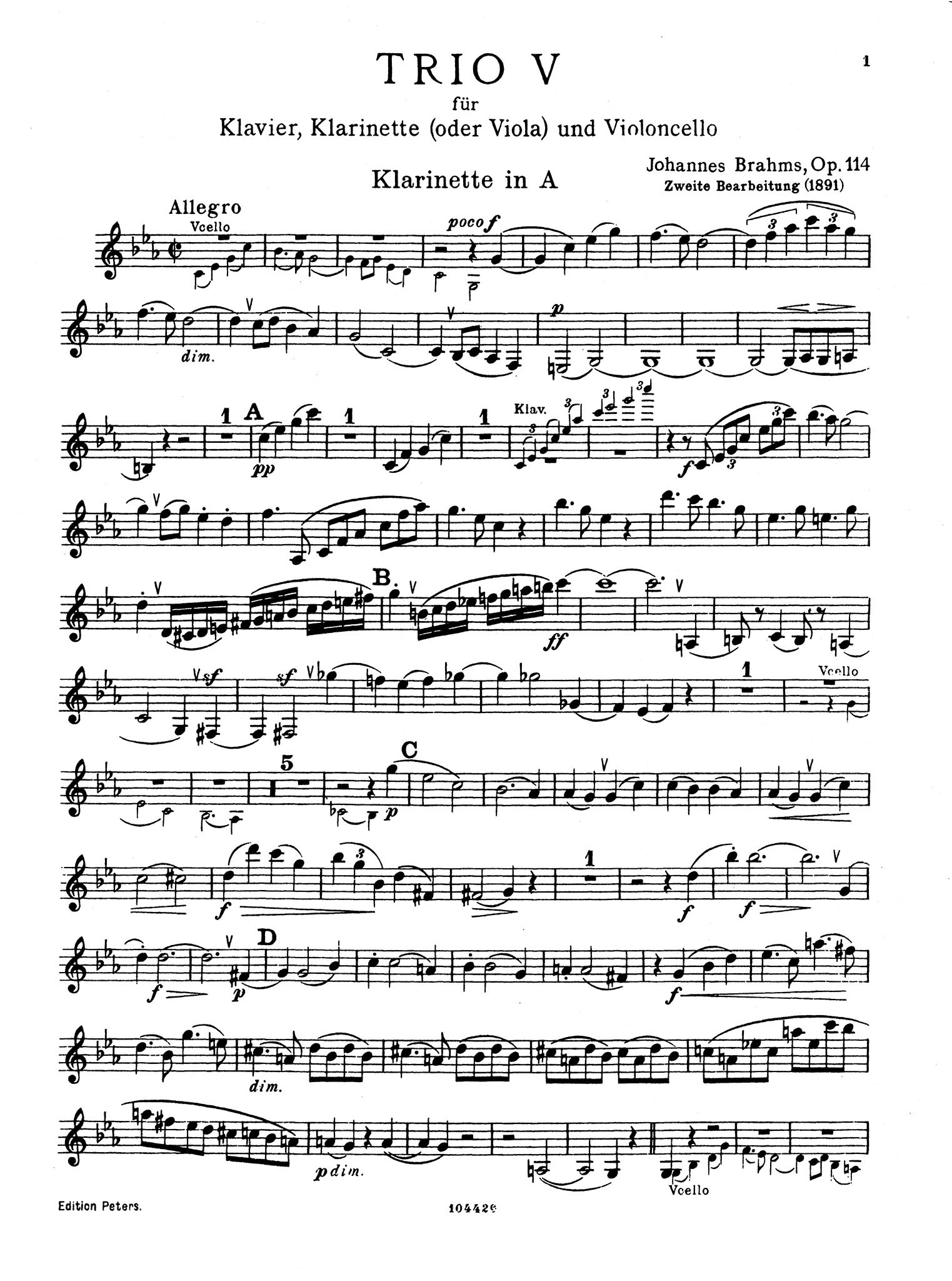 Clarinet Trio in A Minor, Op. 114 Clarinet part