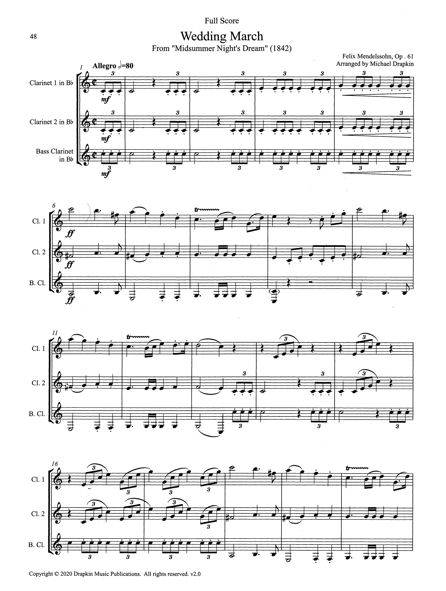 Mendelssohn Wedding March Clarinet Trio score
