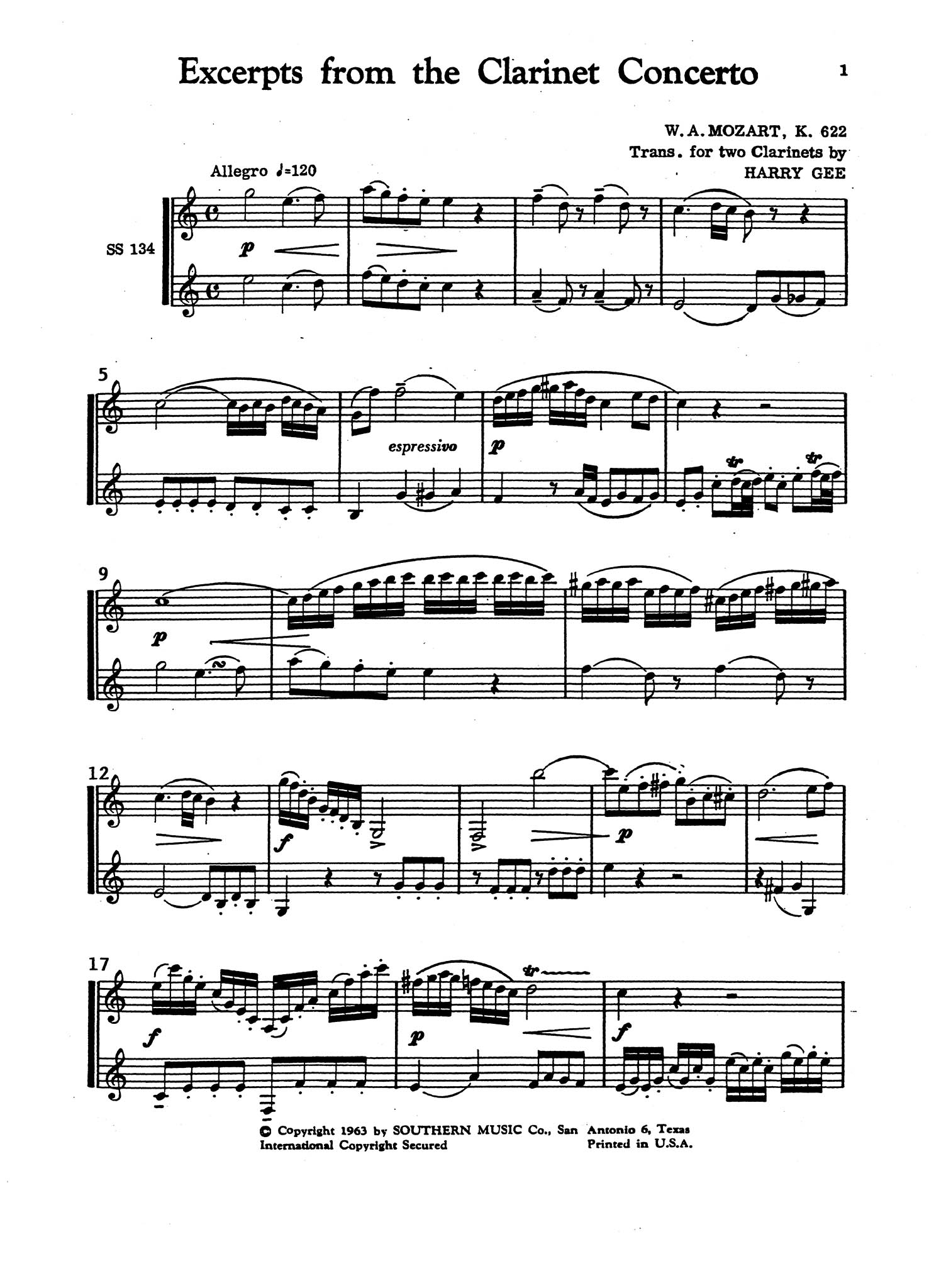 Clarinet Concerto in A Major, K. 622 for 2 Clarinets - Movement 1