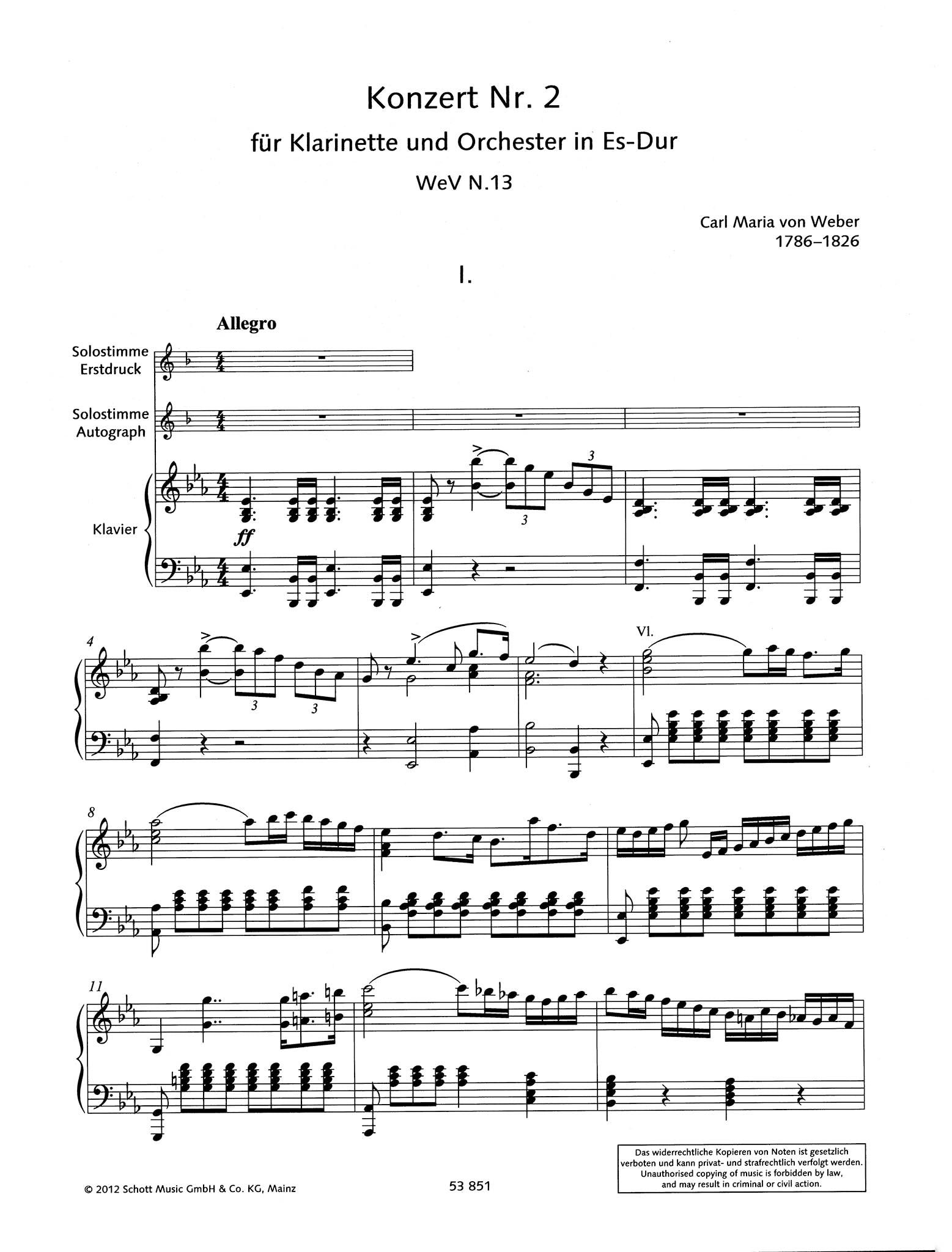 Clarinet Concerto No. 2 in E-flat Major, Op. 74 - Movement 1