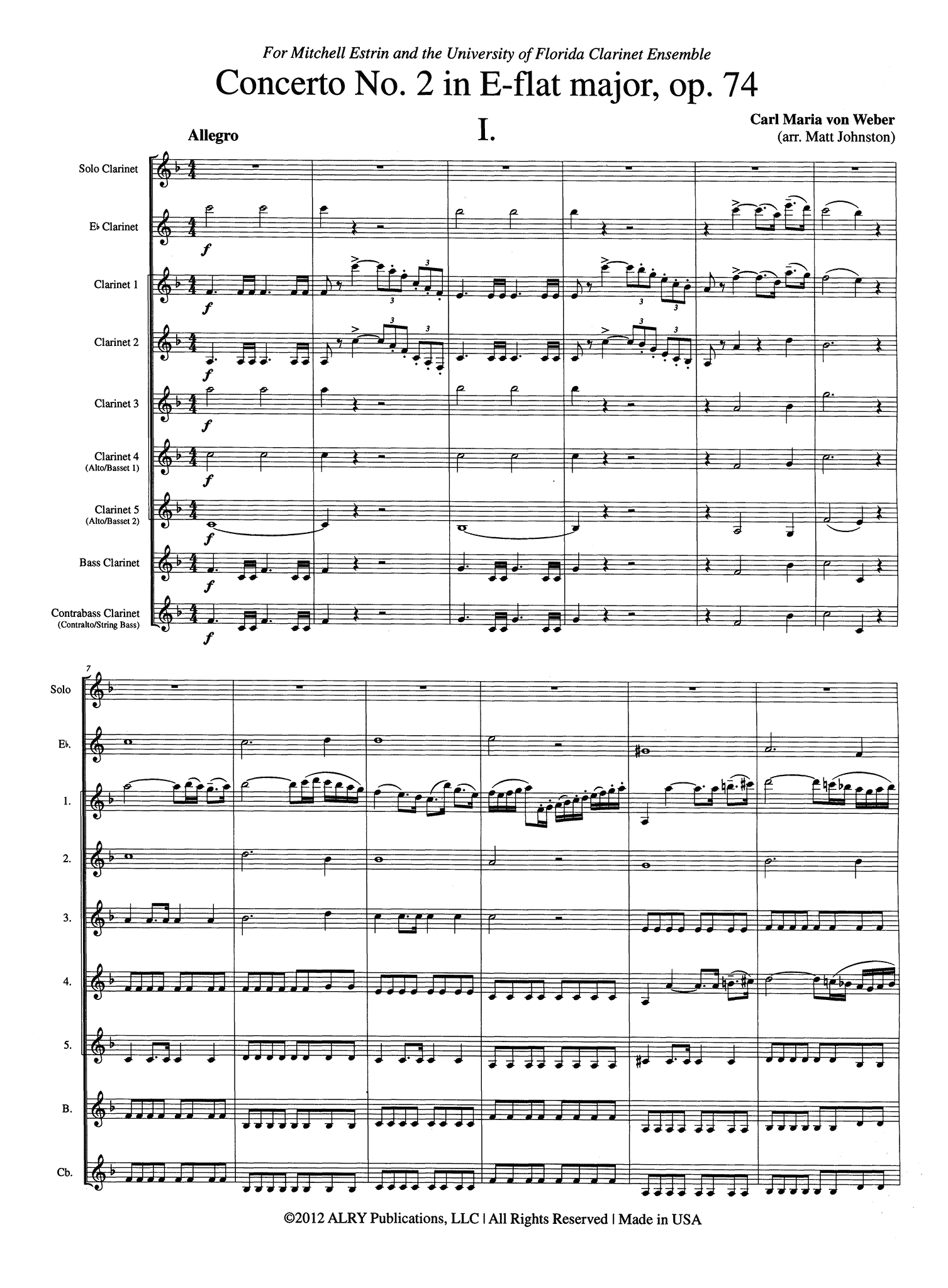 Weber Clarinet Concerto No. 2 for Clarinet Choir - Movement 1