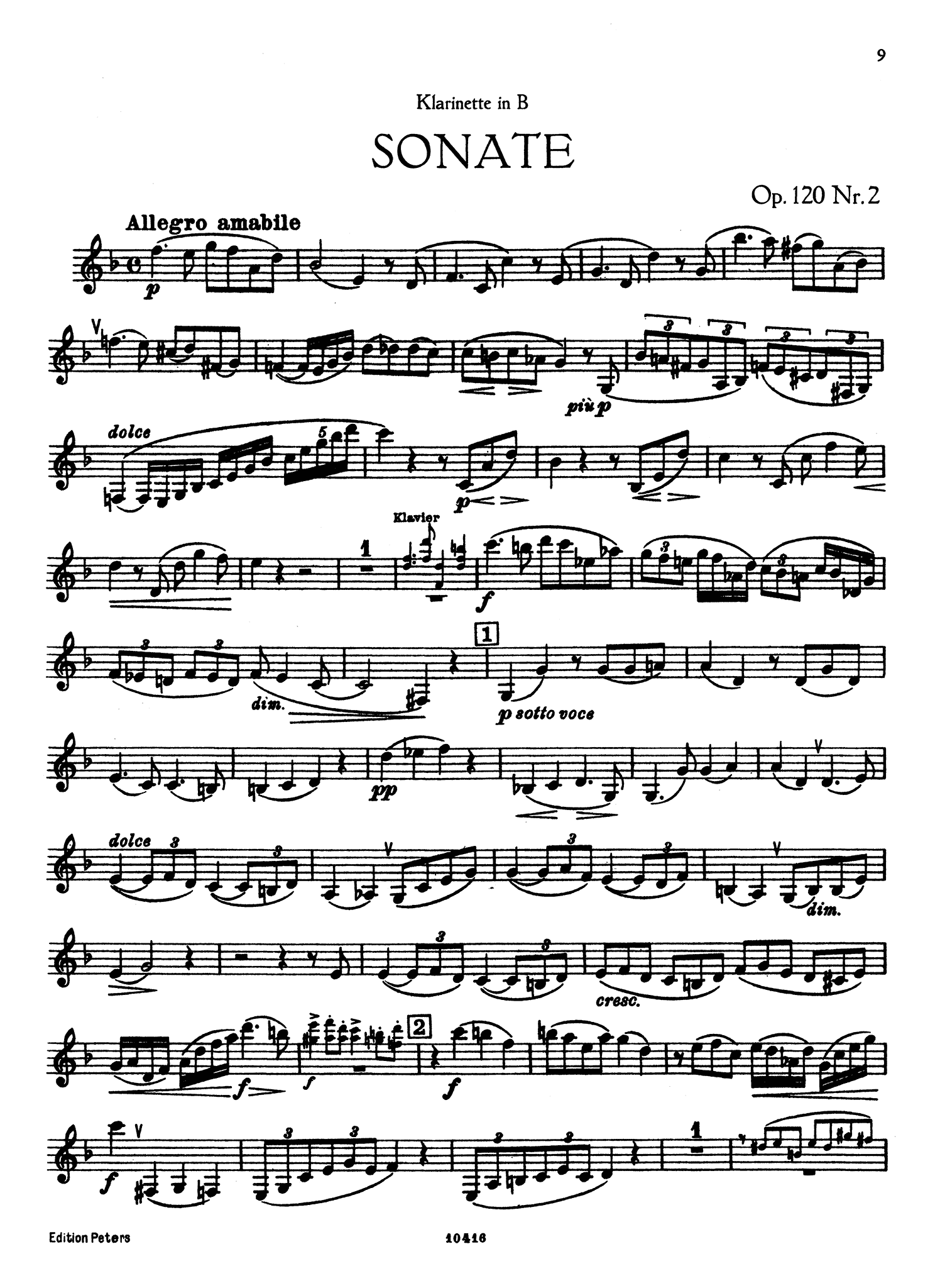 Sonata Op. 120 No. 1 Clarinet part