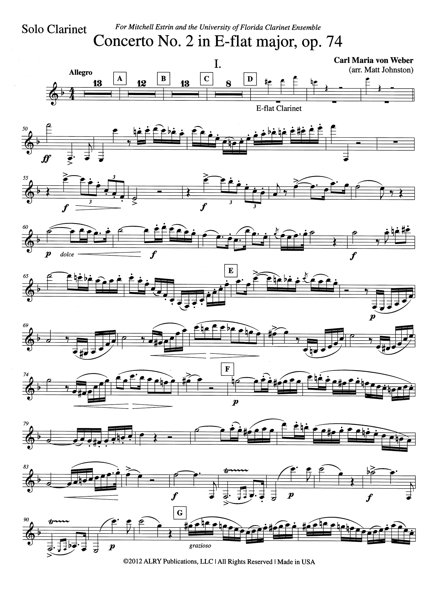 Weber Clarinet Concerto No. 2 for Clarinet Choir Solo part
