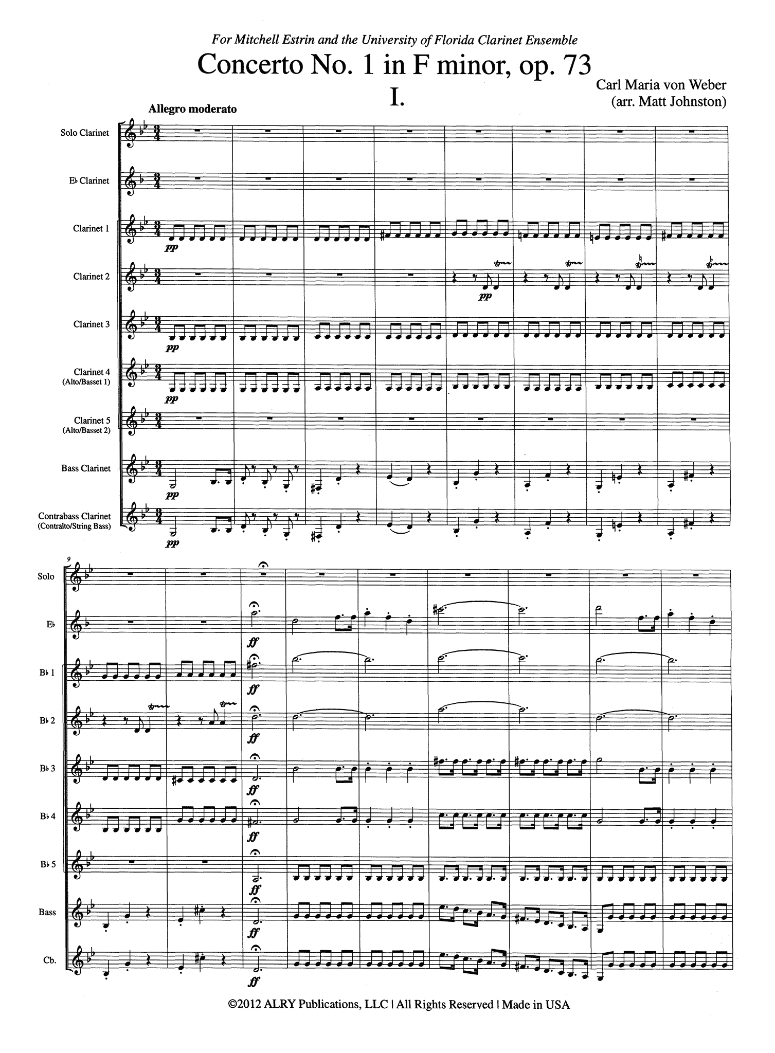Weber Clarinet Concerto No. 1 for Clarinet Choir - Movement 1