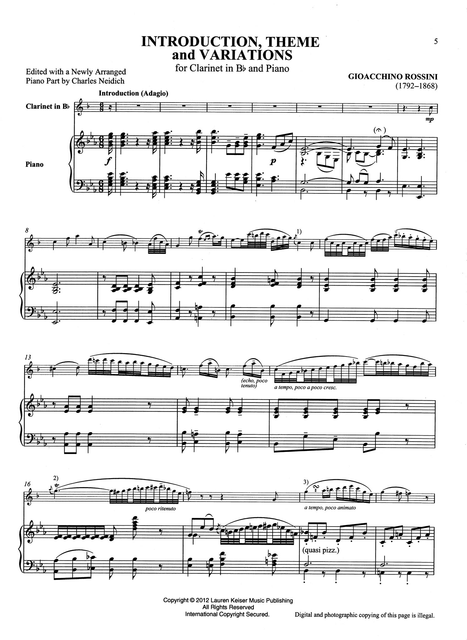 Introduction, Theme & Variations Score