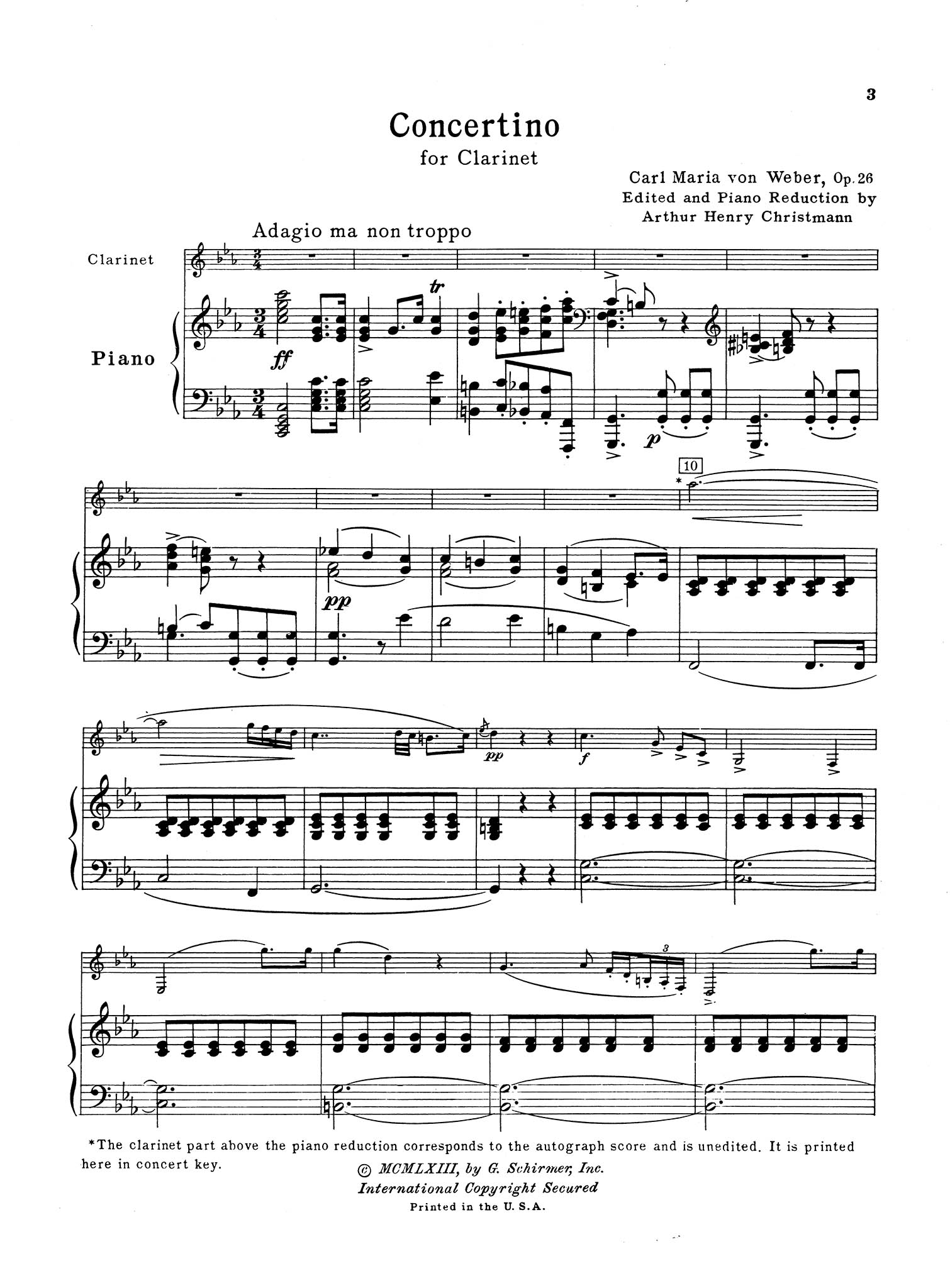 Concertino in E-flat Major, Op. 26, J. 109 Score