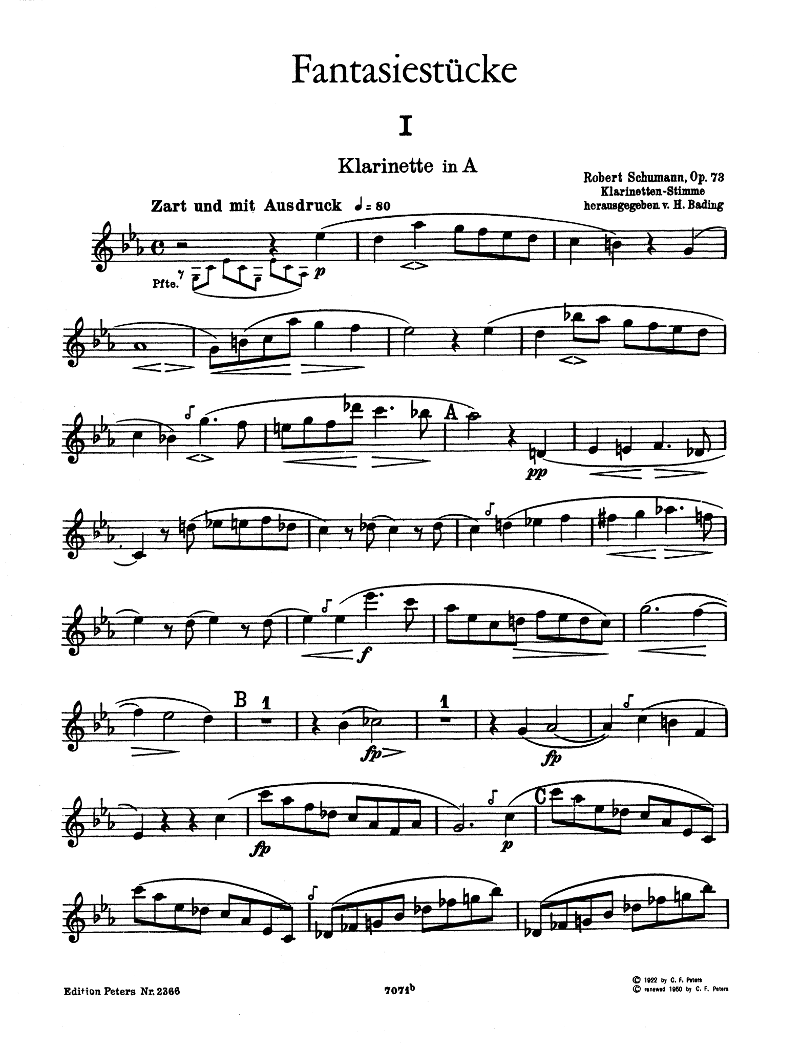Fantasiestücke, Op. 73 A Clarinet part