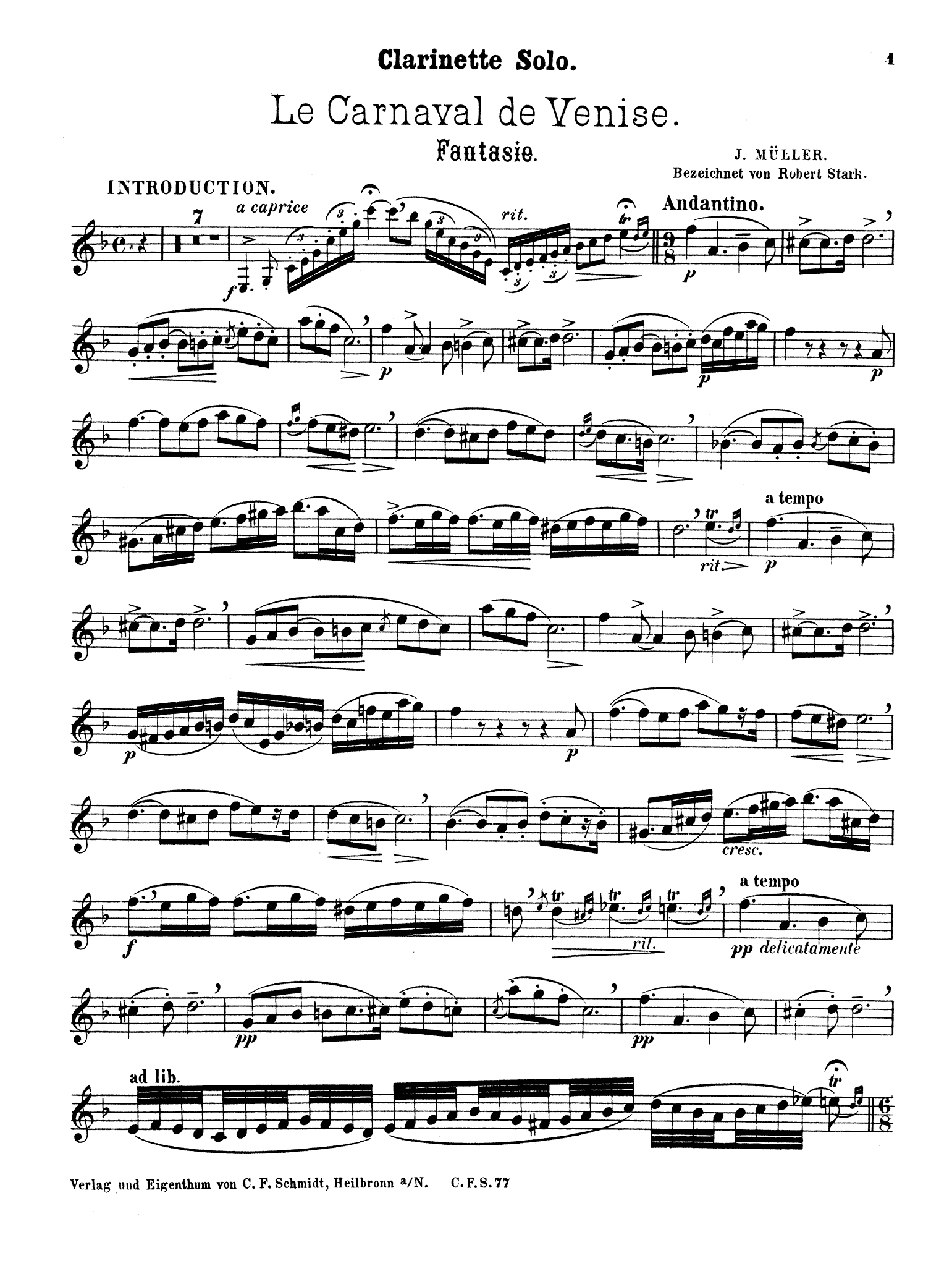 Carnival of Venice Fantasie Clarinet part