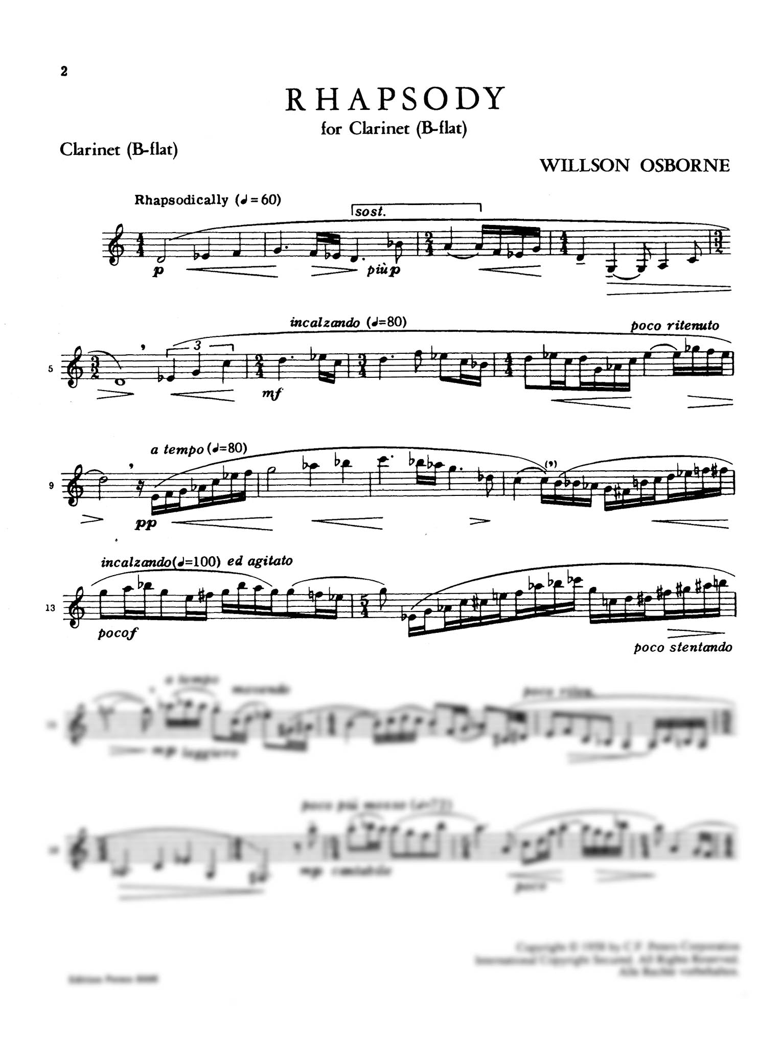 Rhapsody for Clarinet Page 1