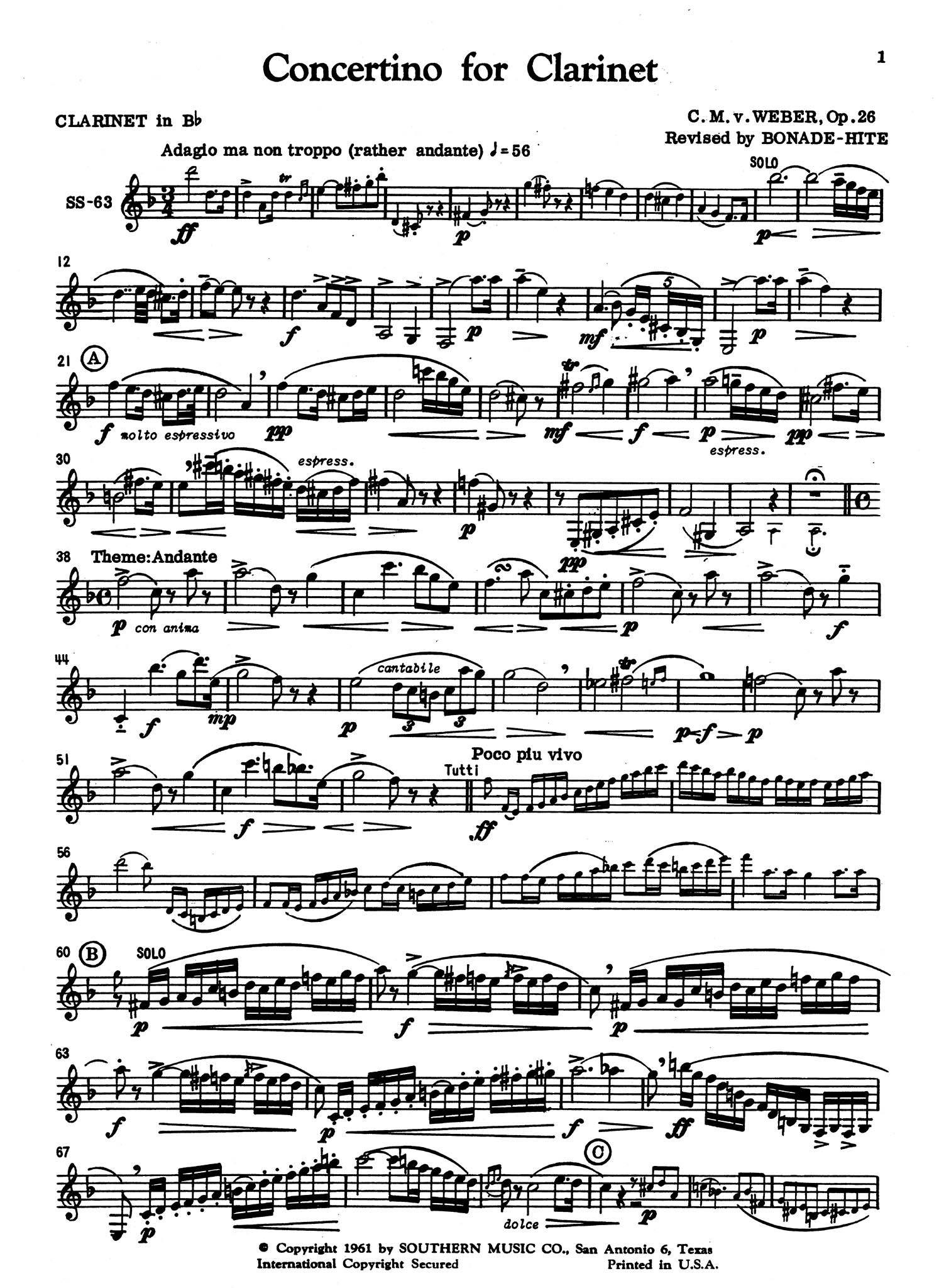 Concertino in E-flat Major, Op. 26, J. 109 Clarinet part