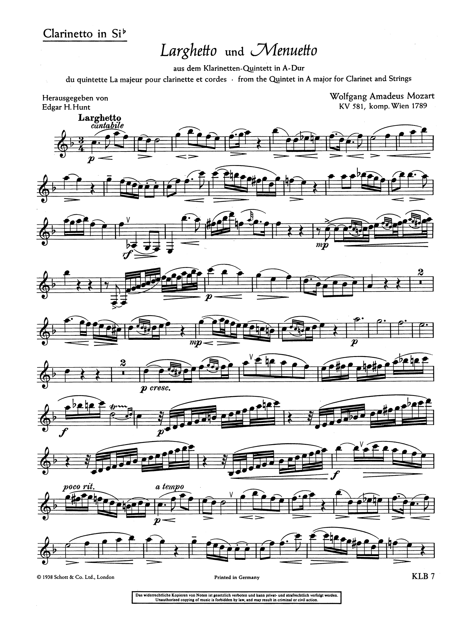 Mozart Famous Pieces Clarinet part