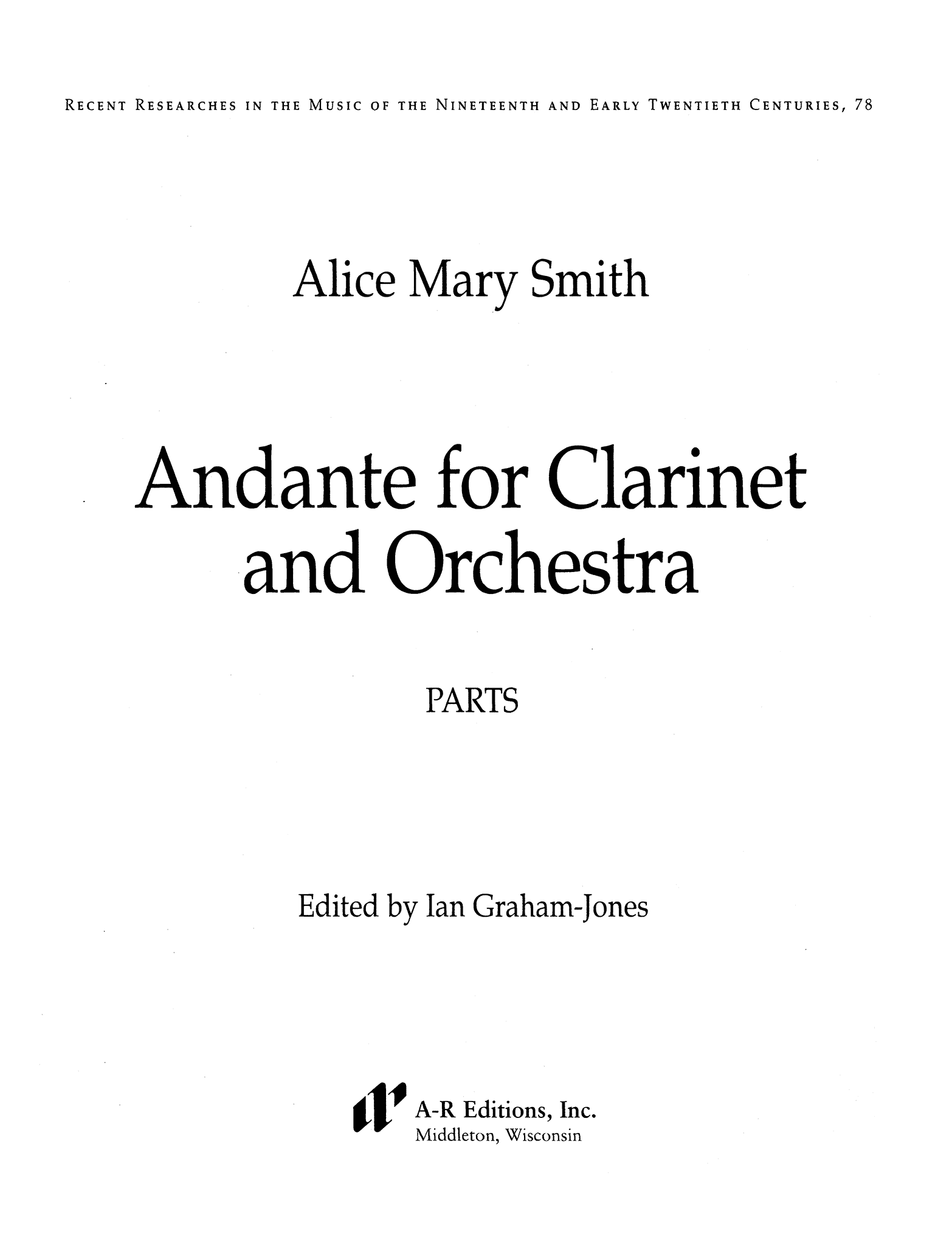 Smith Andante for Clarinet & Orchestra Cover