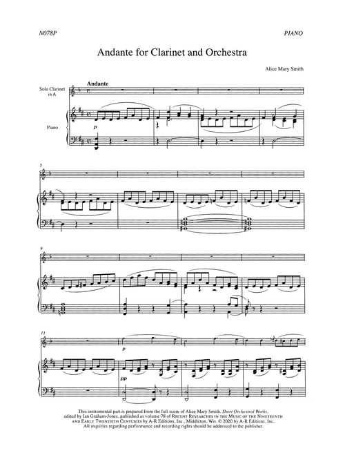 Smith Andante for Clarinet & Orchestra Score