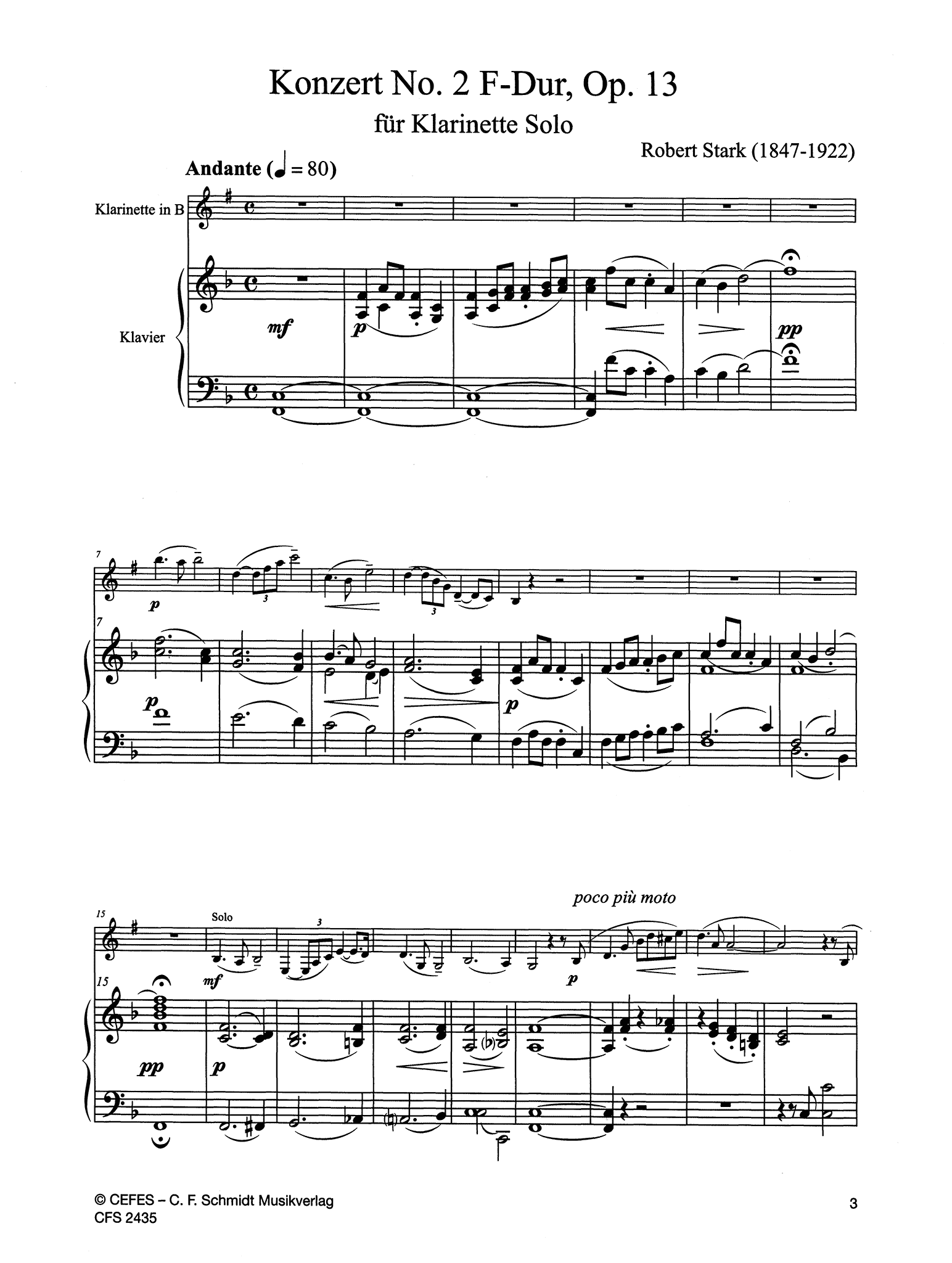 Clarinet Concerto No. 2 in F Major, Op. 13 Score