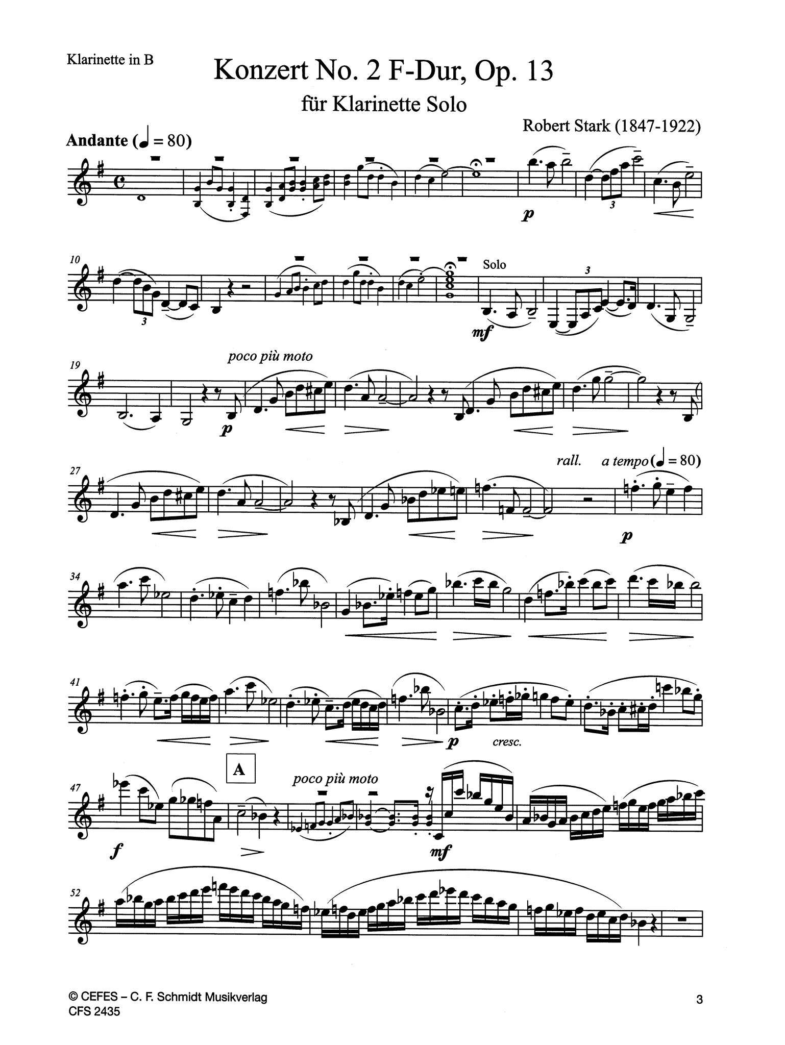 Clarinet Concerto No. 2 in F Major, Op. 13 Clarinet part