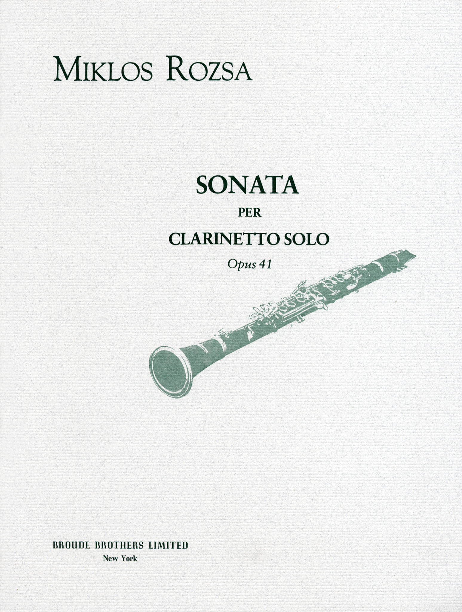Sonata for Clarinet Solo, Op. 41 Cover