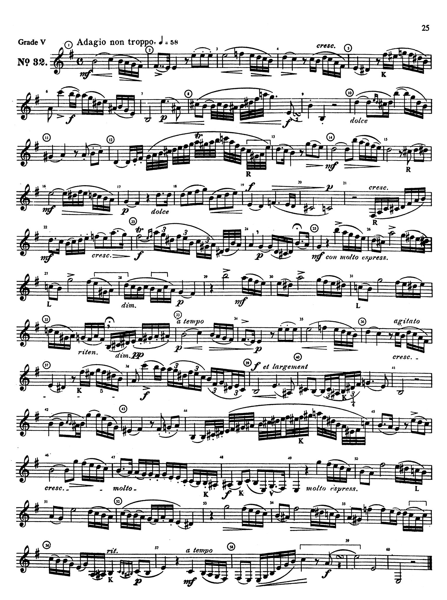 Rose 40 Études for Clarinet, Book 2 Page 25