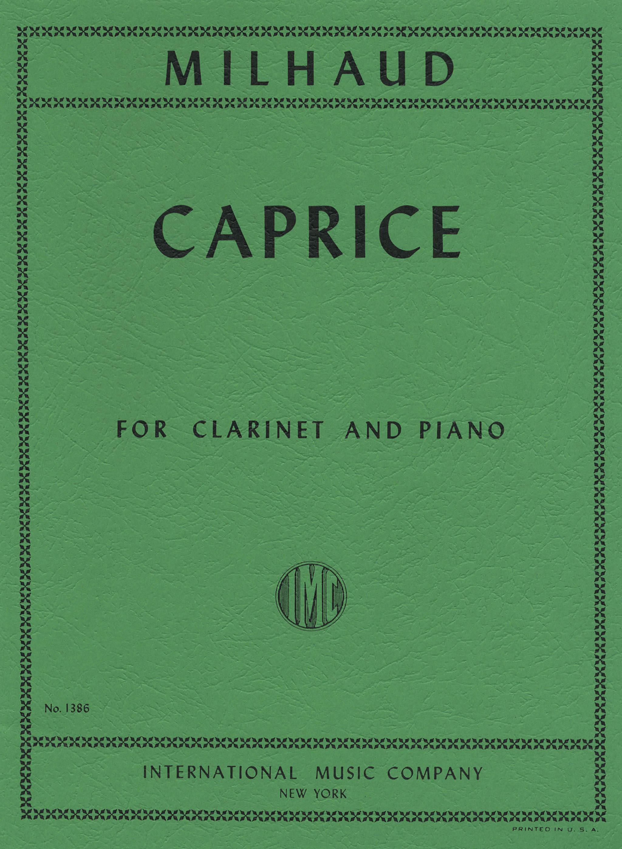 Milhaud Caprice, Op. 335 Cover