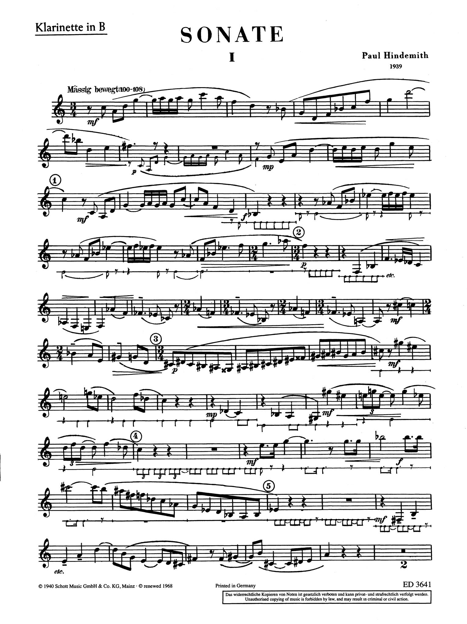 Sonata in B-flat Major Clarinet part