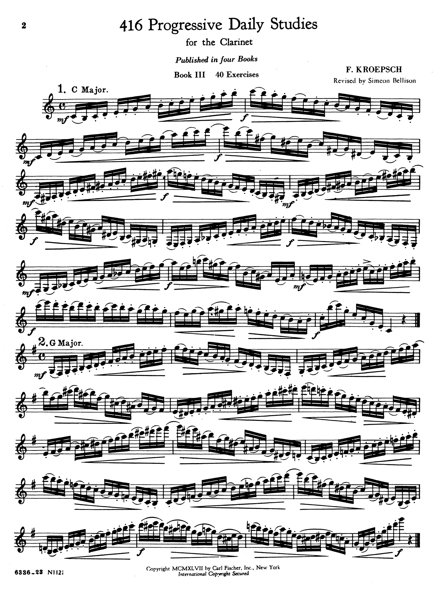 416 Progressive Studies for Clarinet, Book 3 Page 2