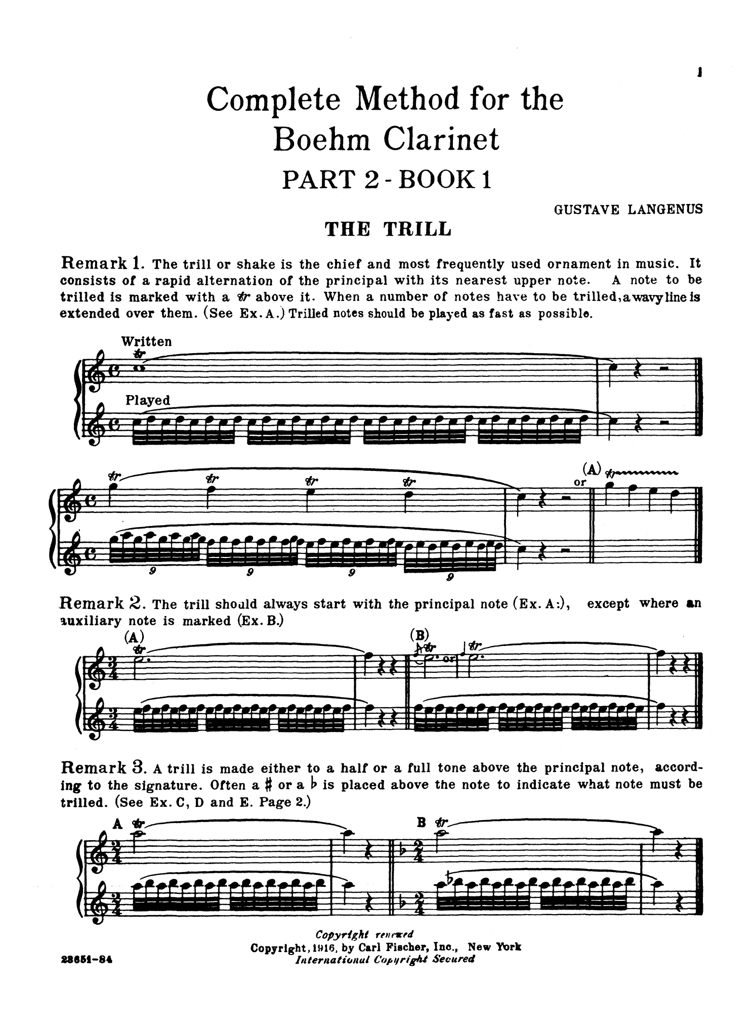 Complete Method for the Clarinet, Book 2 Page 1