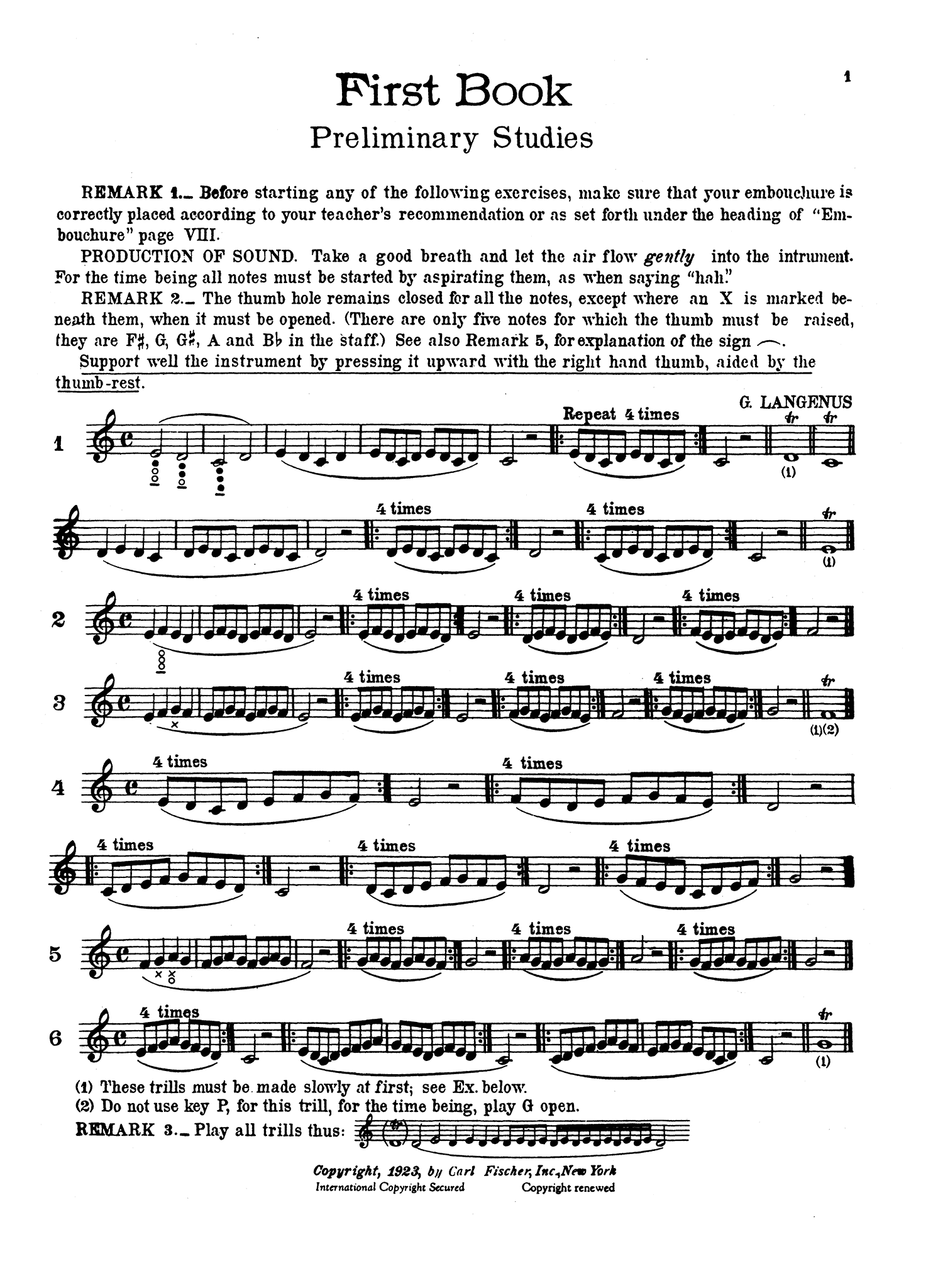 Complete Method for the Clarinet, Book 1 Page 1