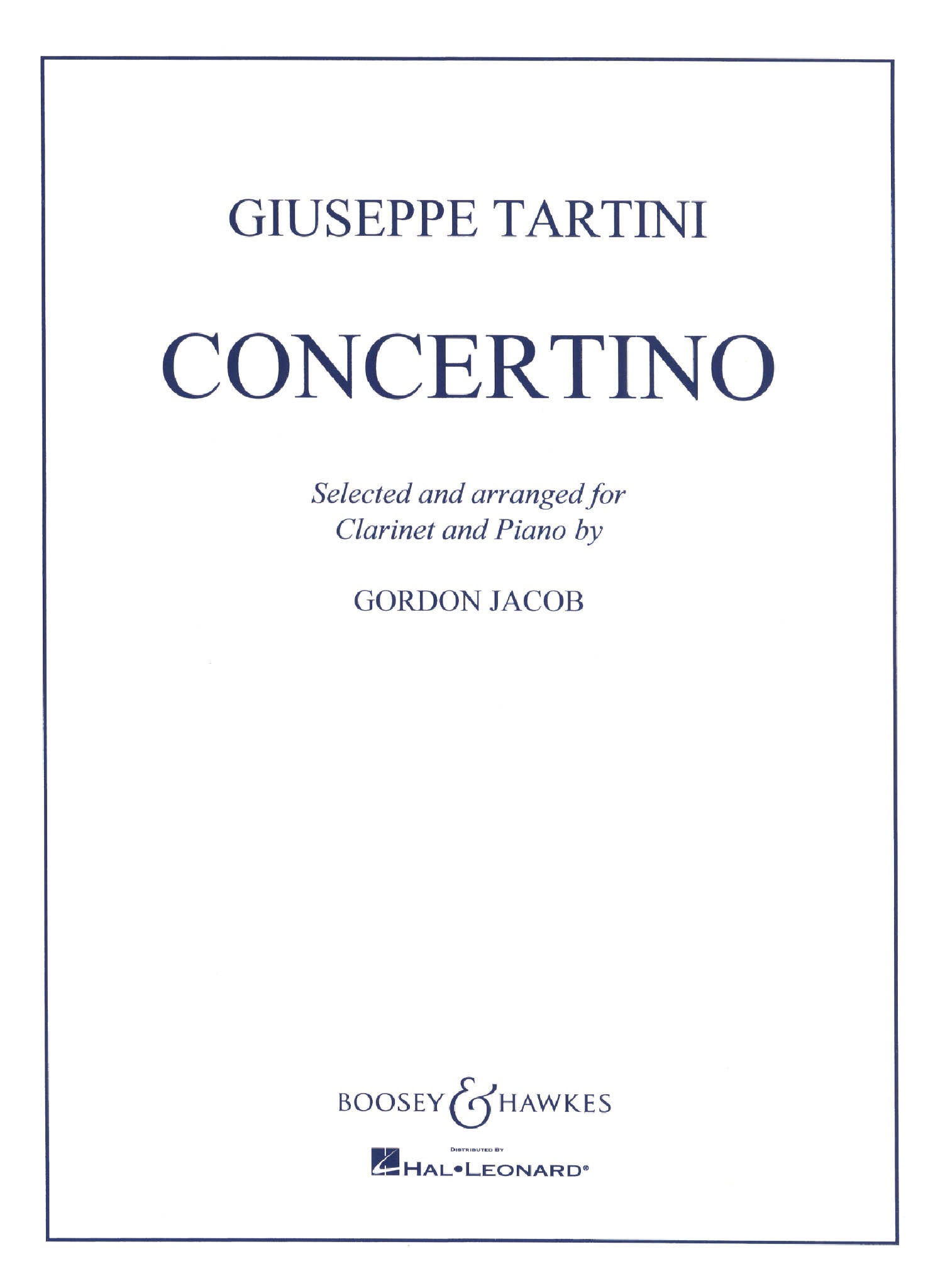 Tartini Jacob Clarinet Concertino Cover