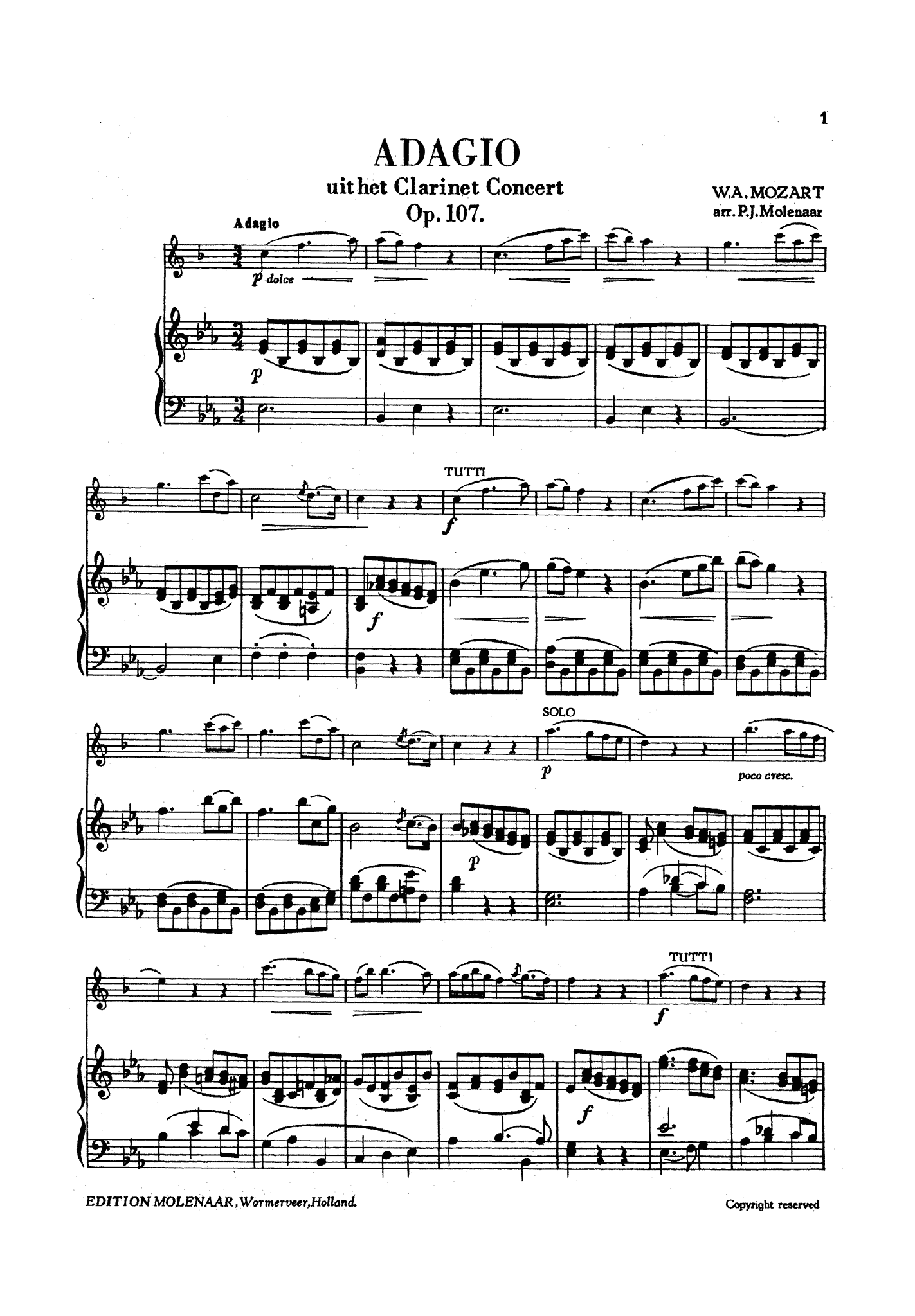Adagio, from Clarinet Concerto Score