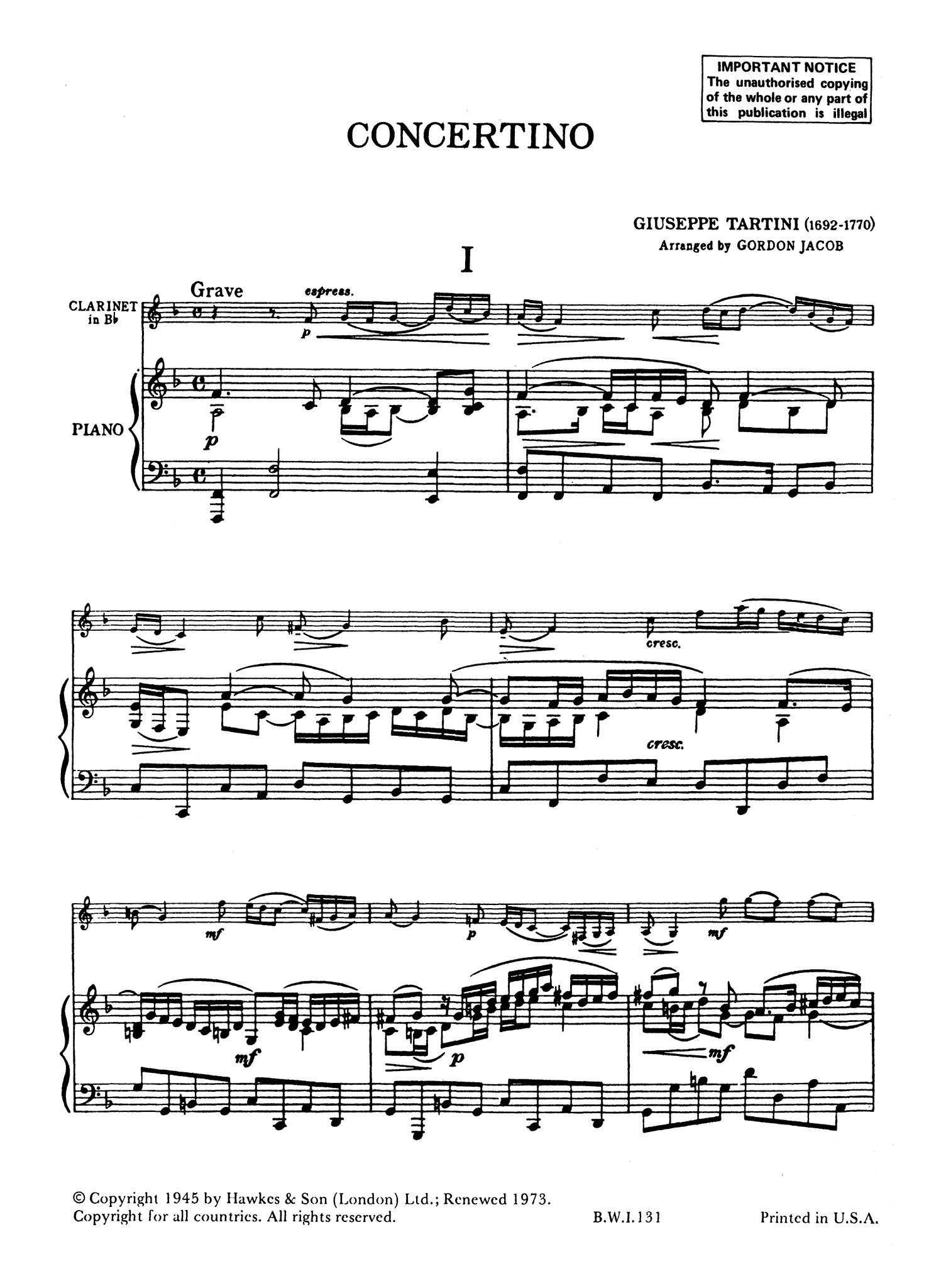 Tartini Jacob Clarinet Concertino - Movement 1