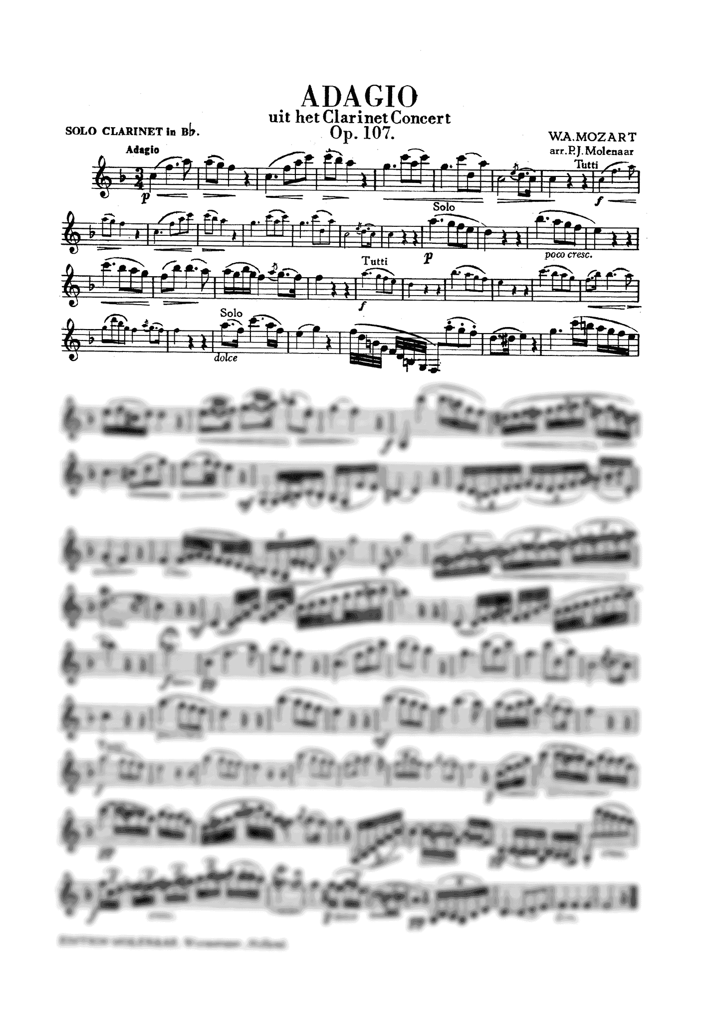 Adagio, from Clarinet Concerto Clarinet part