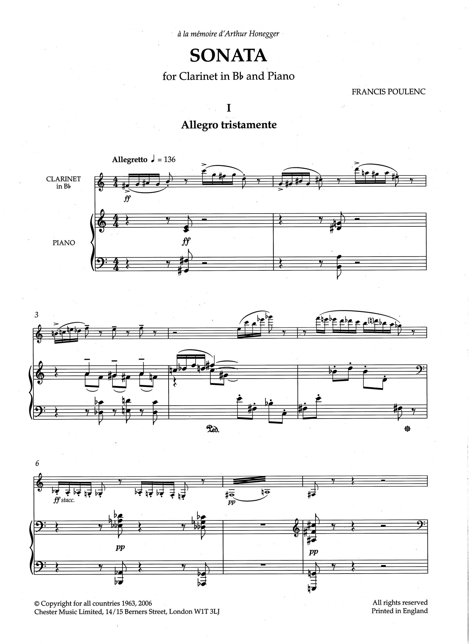 Sonata for Clarinet & Piano - Movement 1