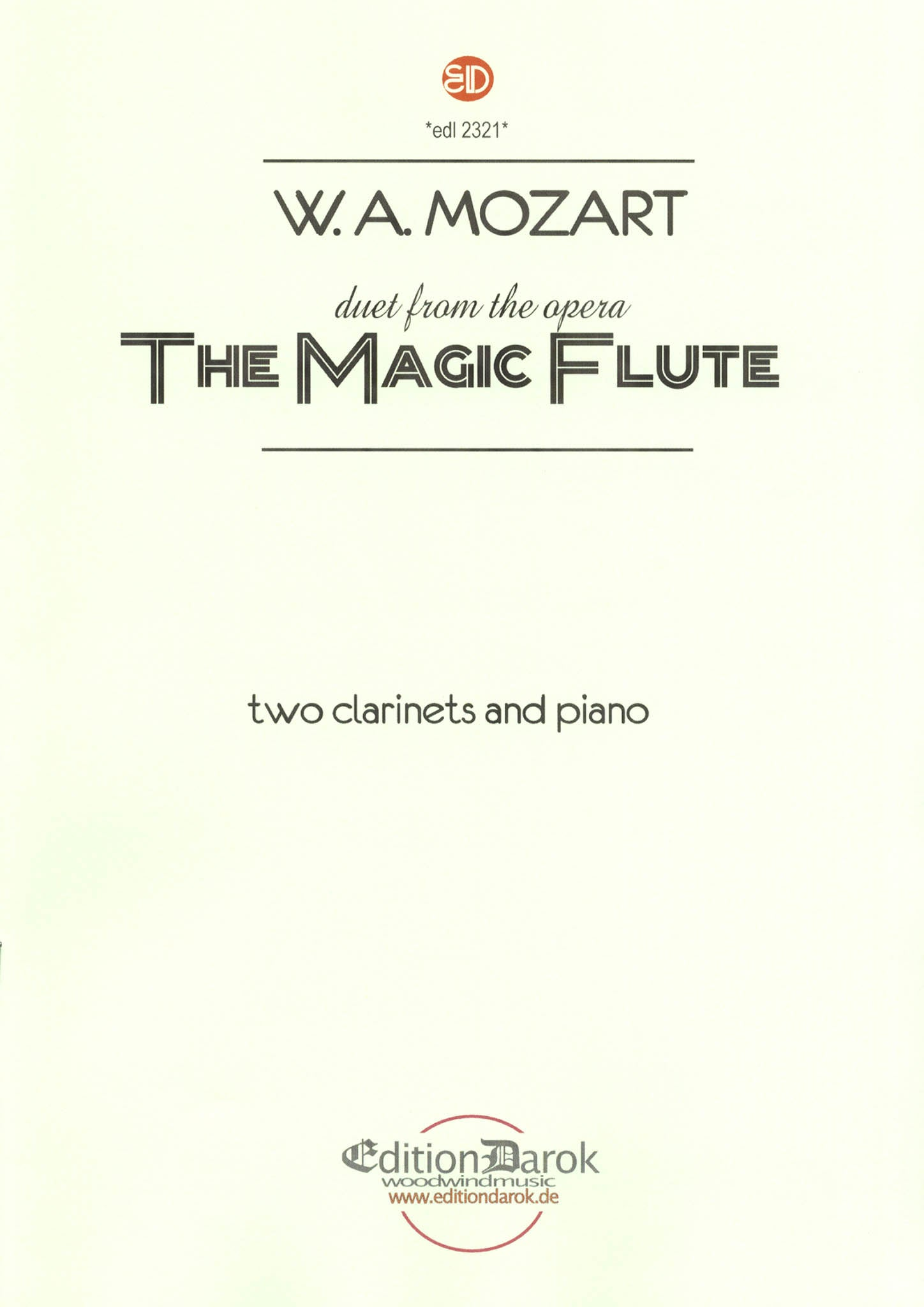 Mozart Bei Mannern Duet from Magic Flute 2 clarinets and piano cover