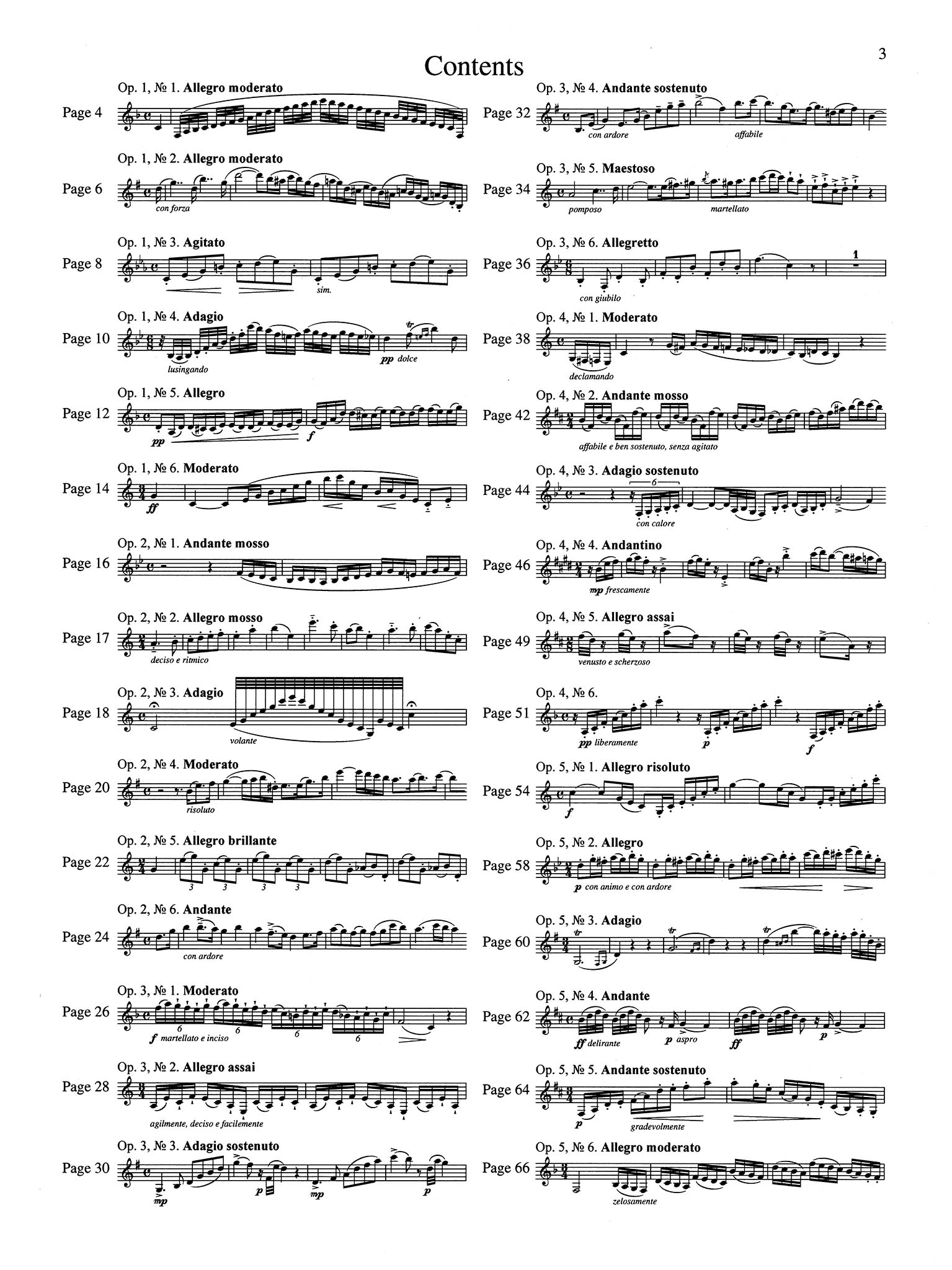 30 Caprices for Clarinet Thematic index