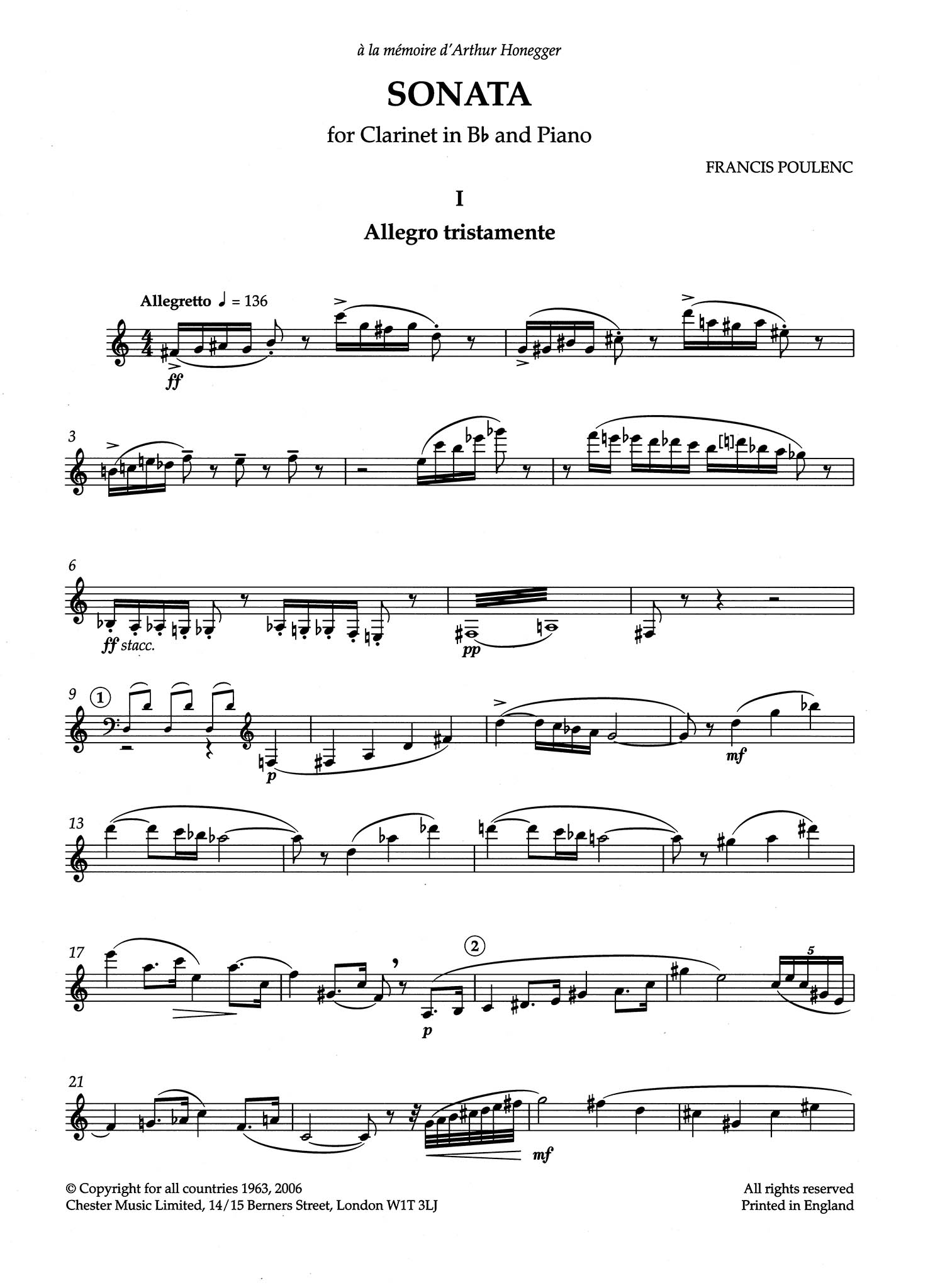 Sonata for Clarinet & Piano Clarinet part