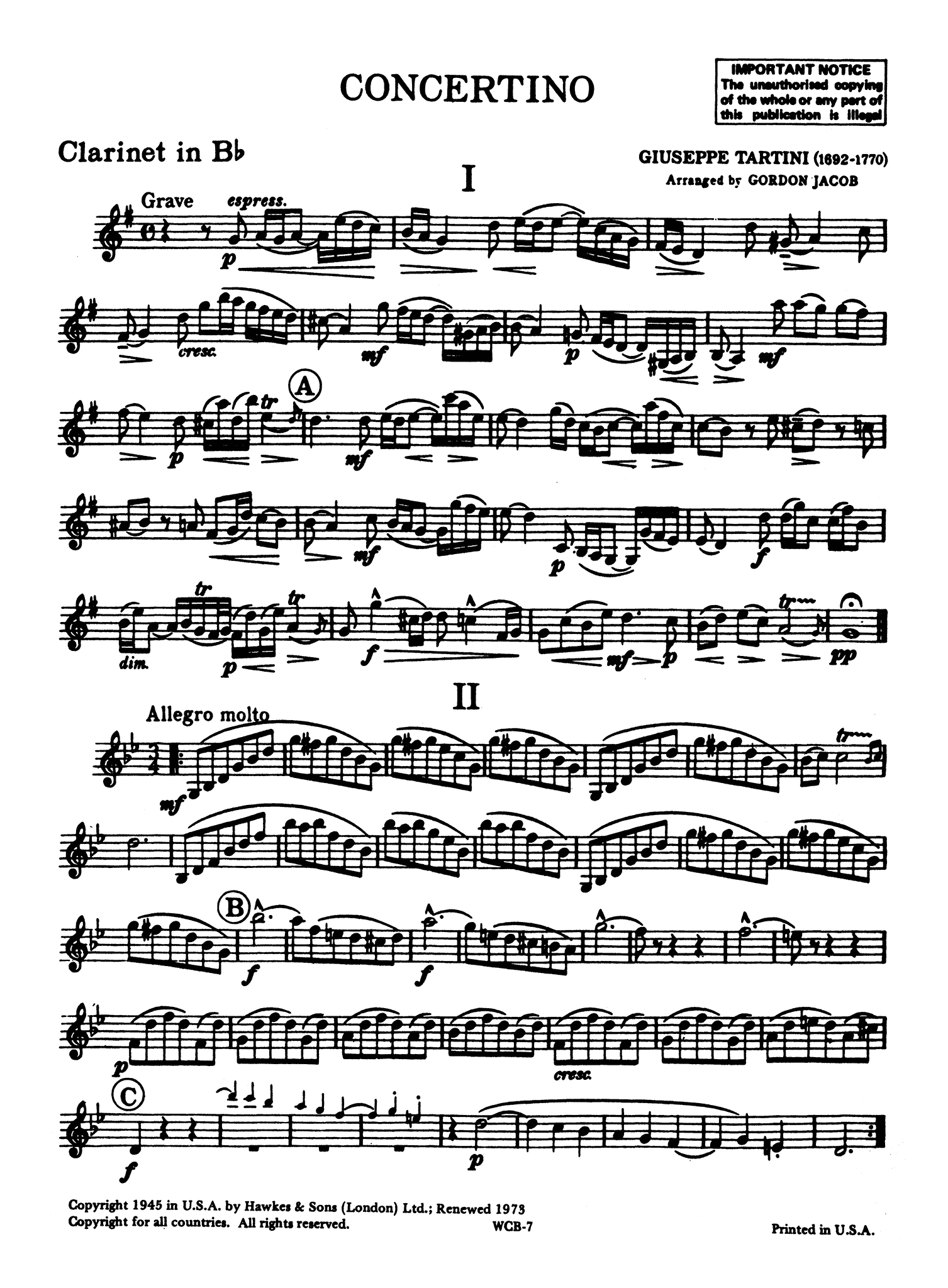 Tartini Jacob Concertino Clarinet part