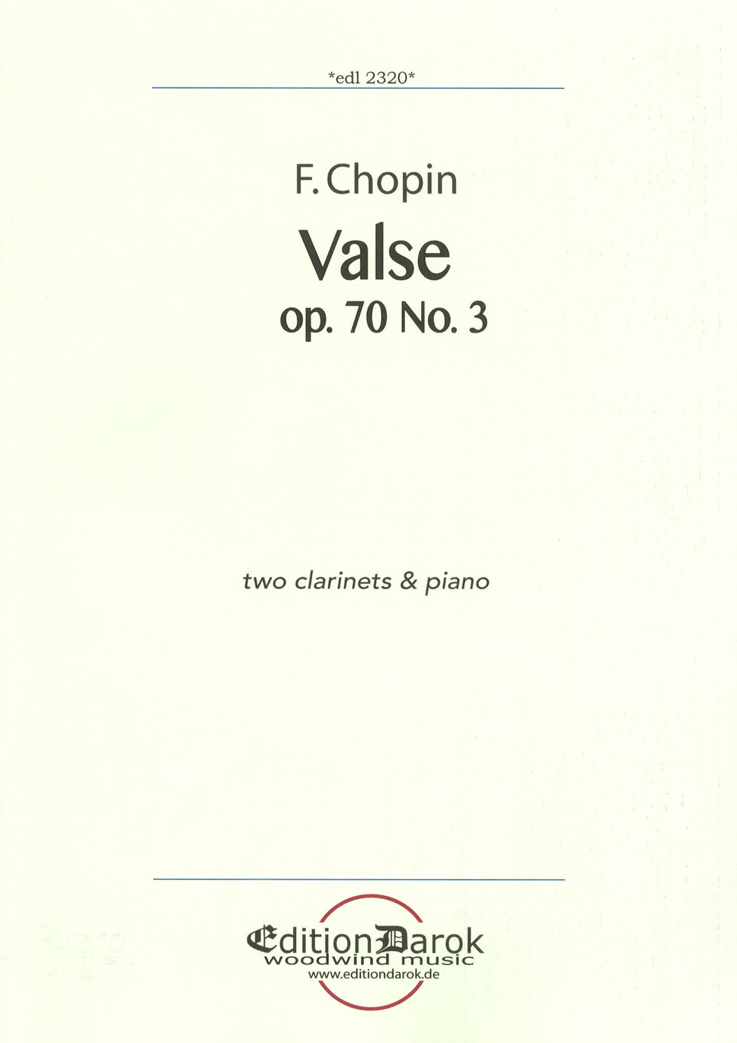 Chopin Waltz, Op. 70 No. 3 for 2 clarinets & piano Cover