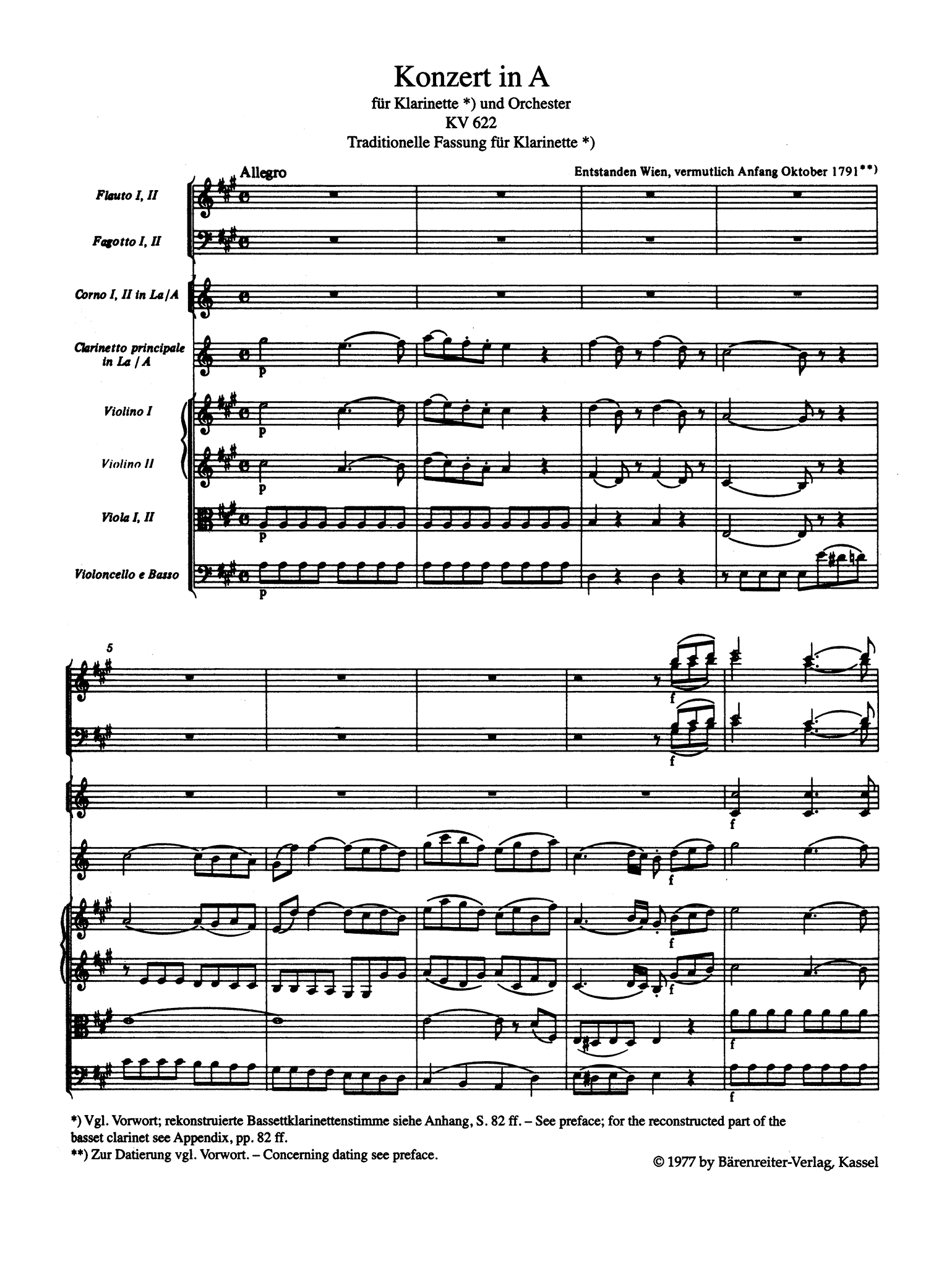 Clarinet Concerto in A Major, K. 622 - Movement 1