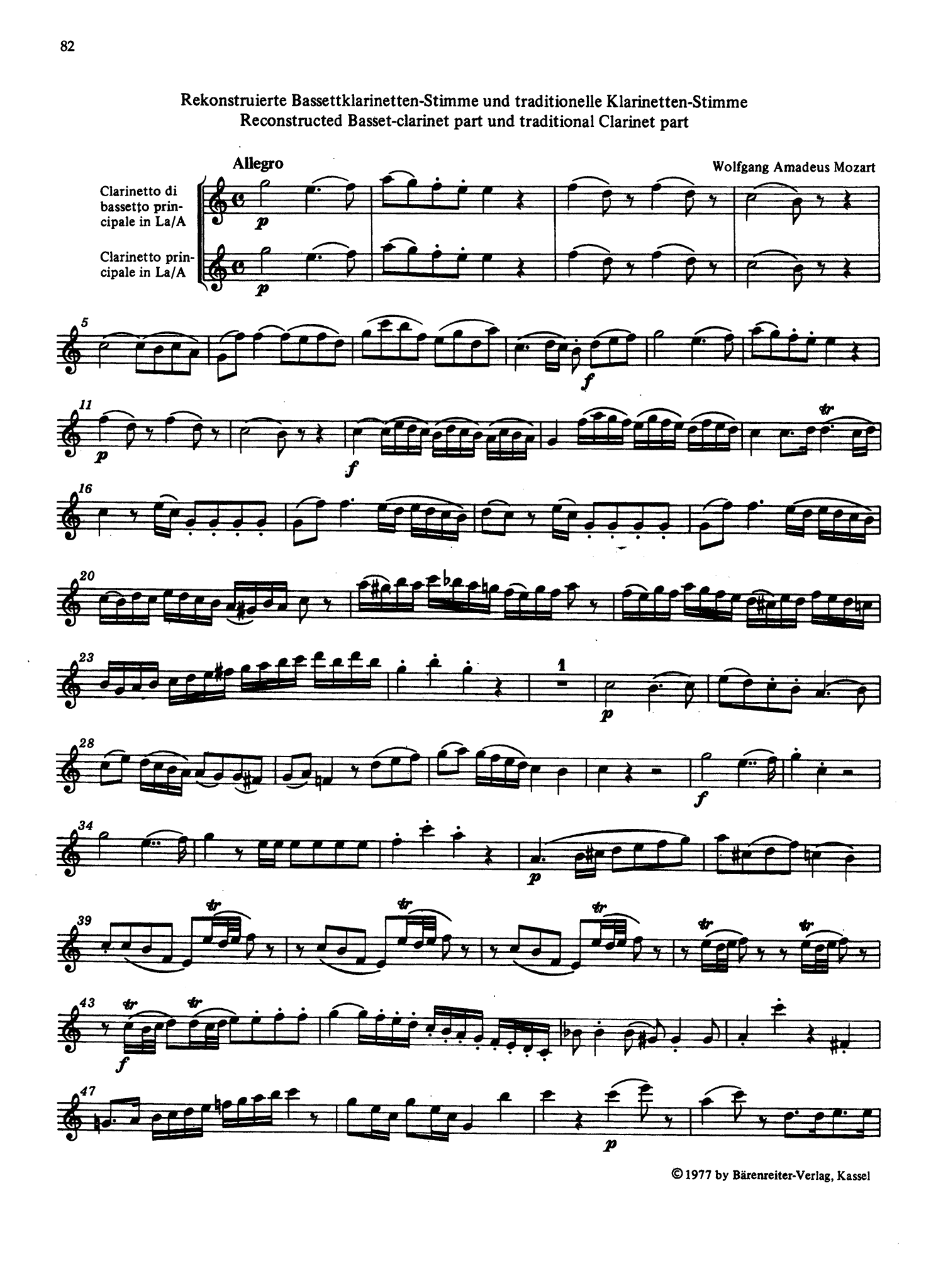 Clarinet Concerto in A Major, K. 622 Clarinet part appendix