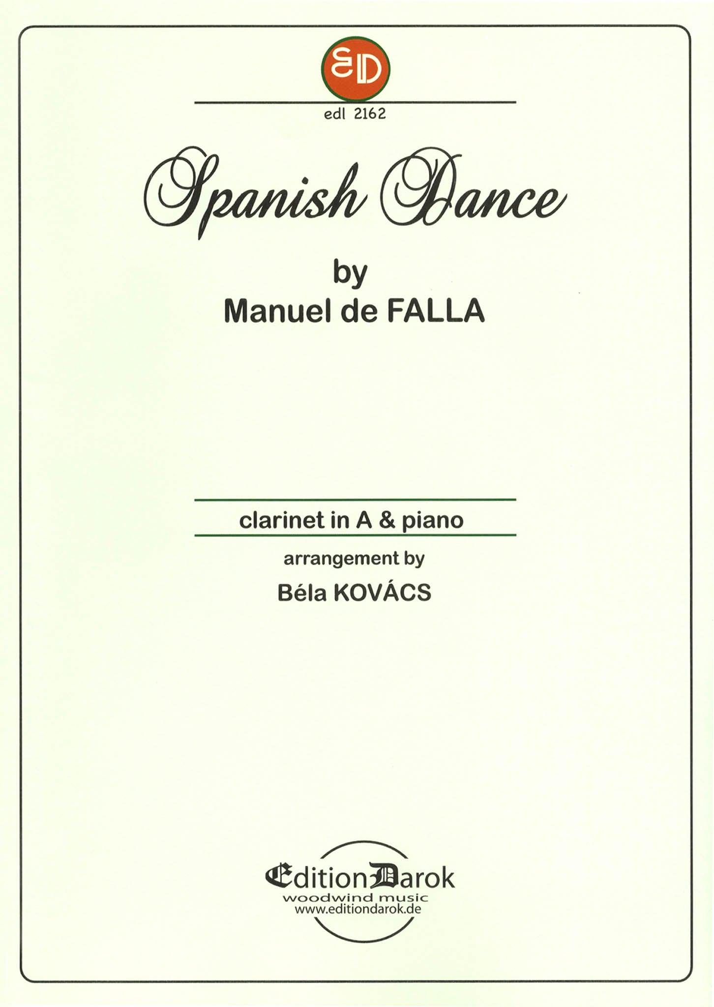 Falla / Kovács; Spanish Dance from opera La vide breve Cover