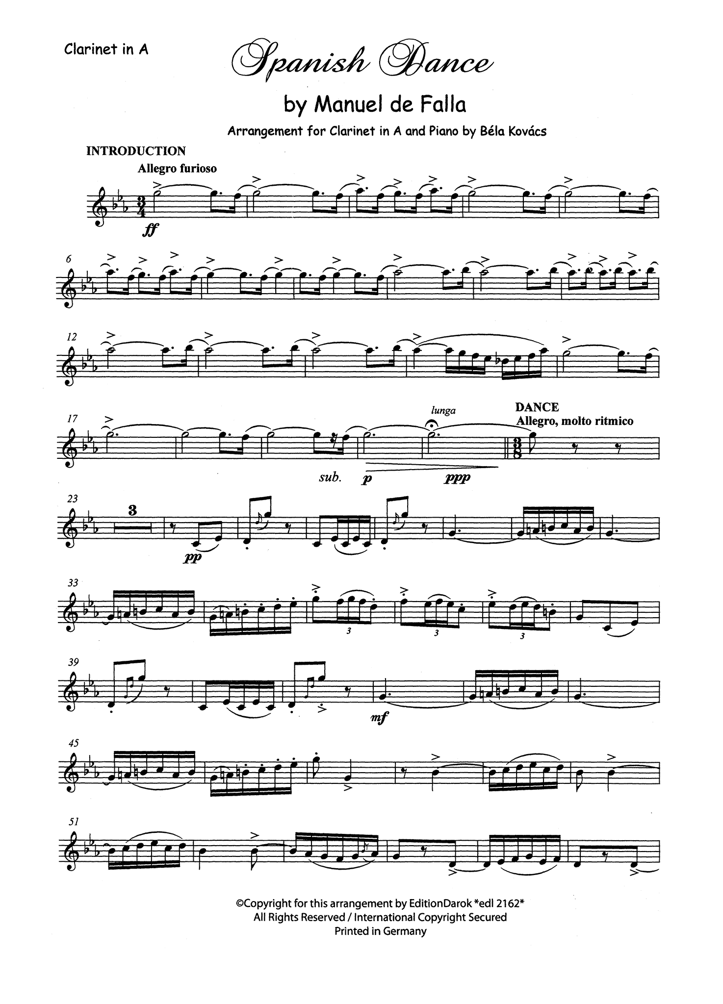 Falla / Kovács; Spanish Dance from opera La vide breve Clarinet part
