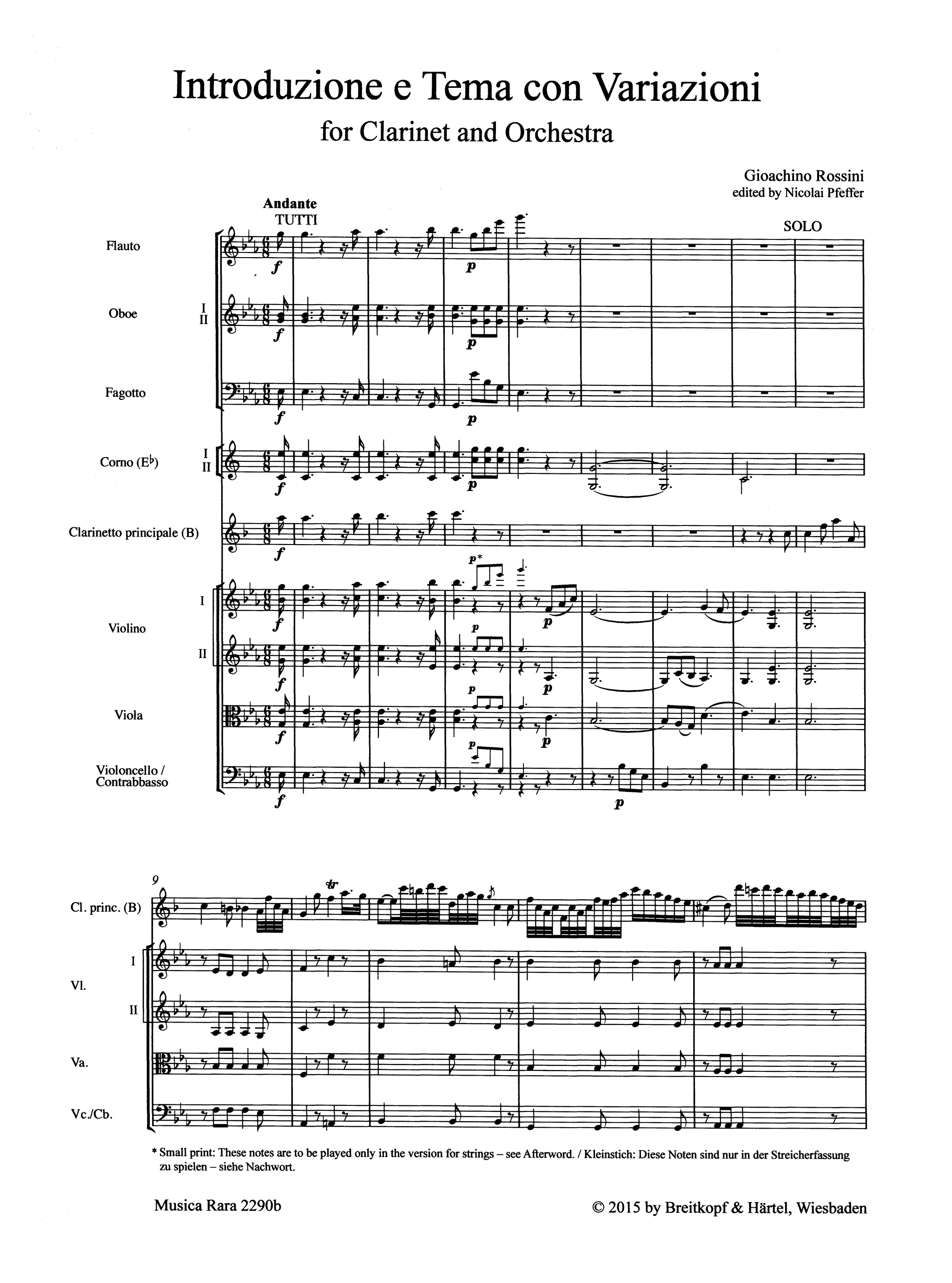 Rossini Introduction, Theme & Variations Score