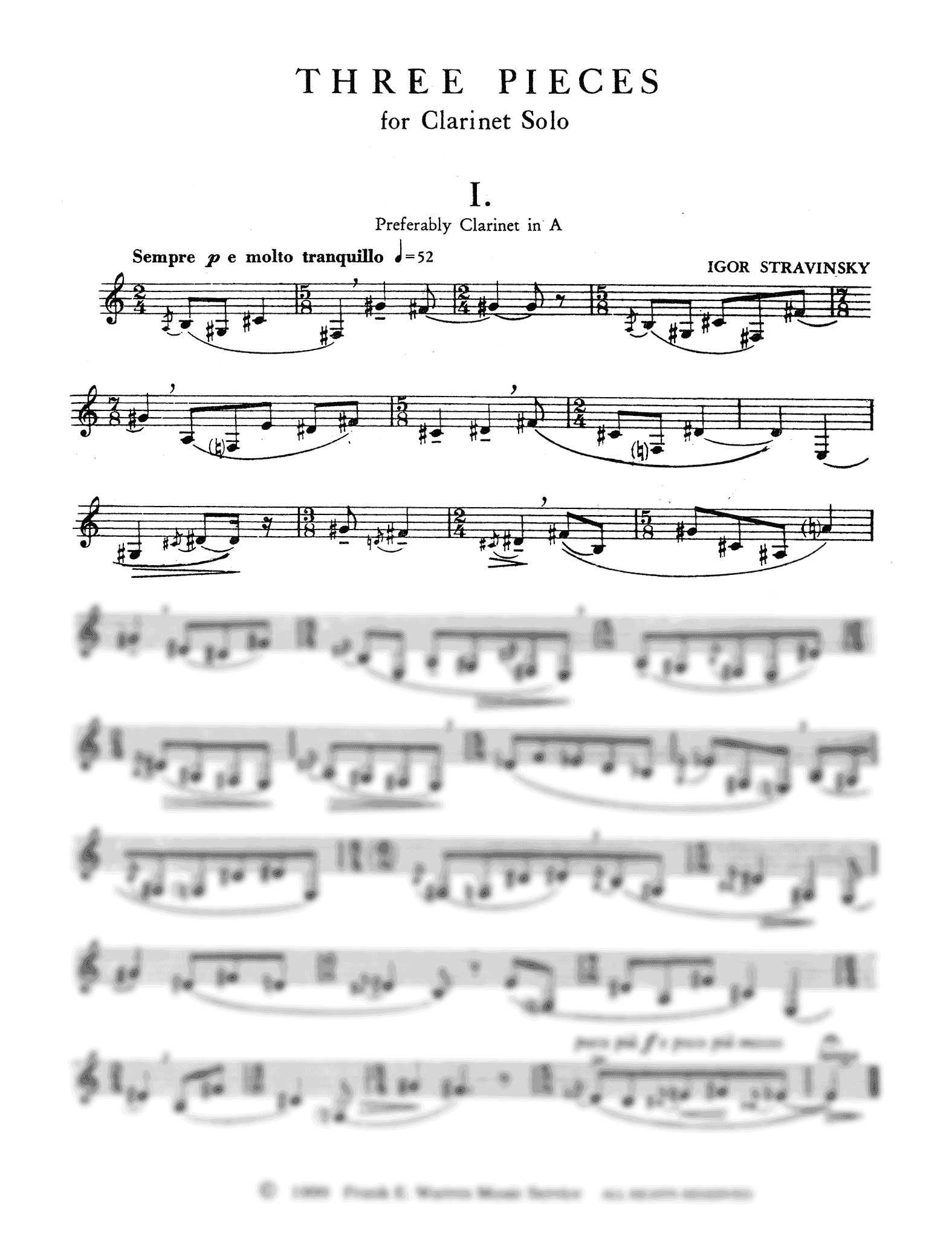 Three Pieces for Clarinet Solo Clarinet part, page 1