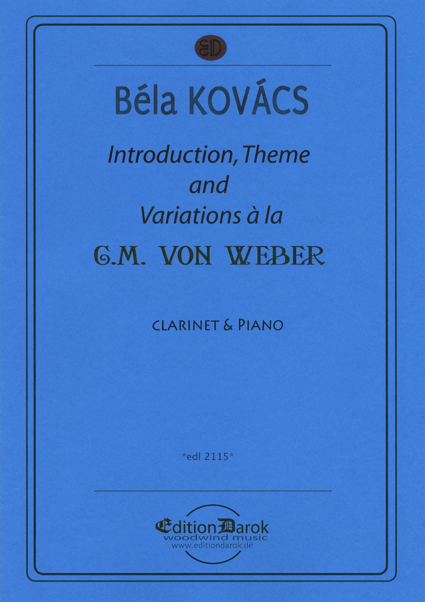 Kovács Hommage à Weber for clarinet & piano Cover