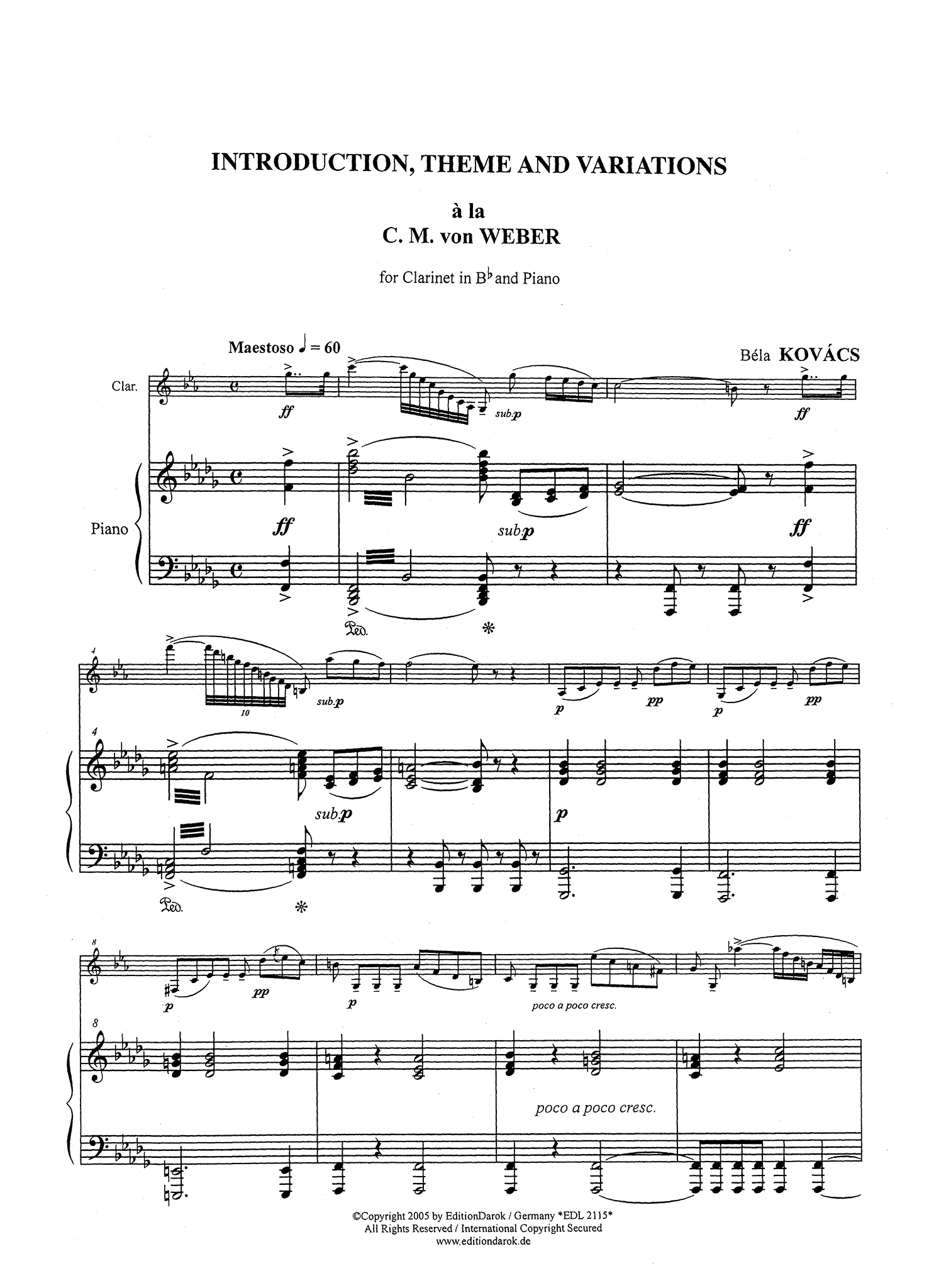 Kovács Hommage à Weber for clarinet & piano Score
