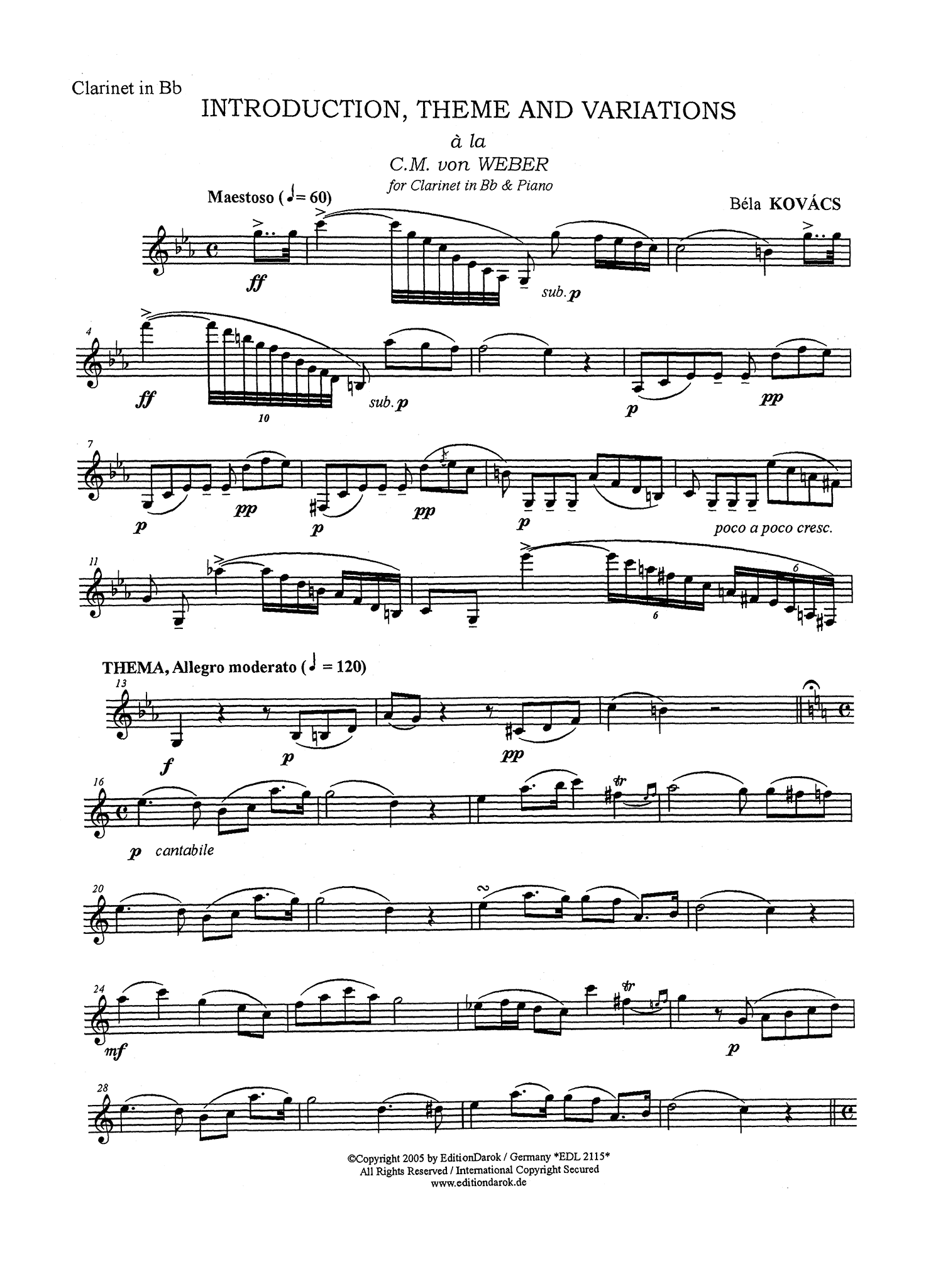 Kovács Hommage à Weber arrangement with piano accompaniment Clarinet part