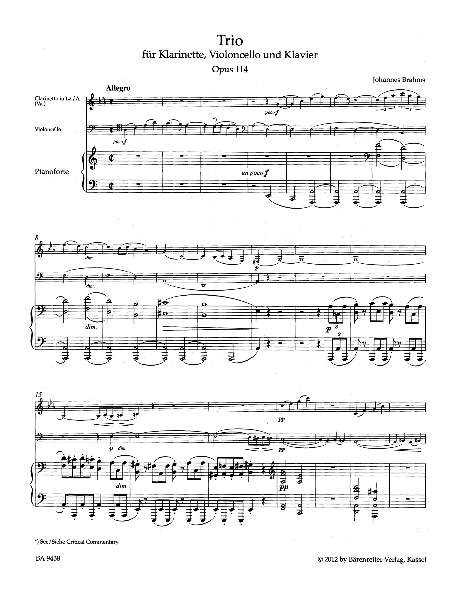Clarinet Trio in A Minor, Op. 114 - Movement 1